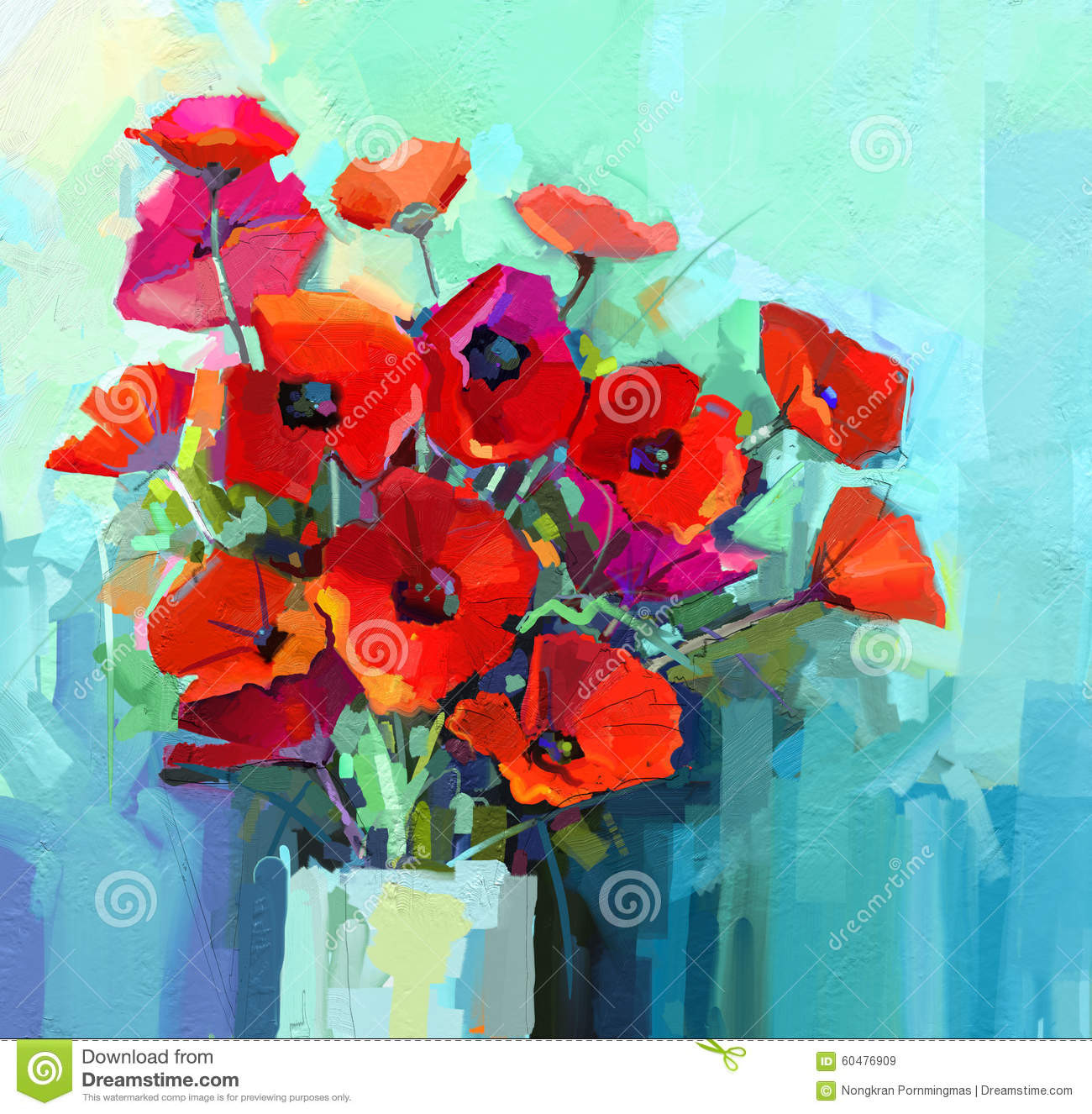 blue vase flowers painting of oil painting poppy stock illustration illustration of flower 7915653 regarding oil painting still life of red and pink color flower colorful bouquet of poppy