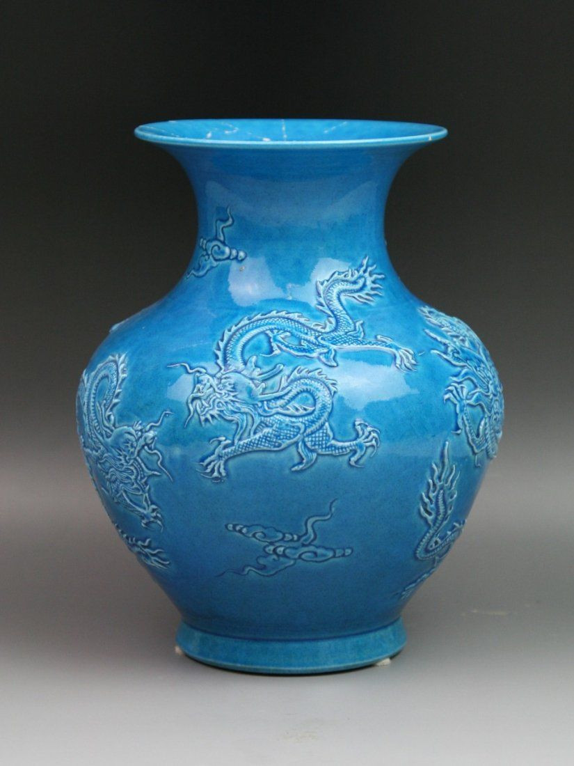 Blue Vintage Vases Of Vintage Chinese Blue Glazed Porcelain Dragon Vase Laveil Du Regarding Vintage Chinese Blue Glazed Porcelain Dragon Vase