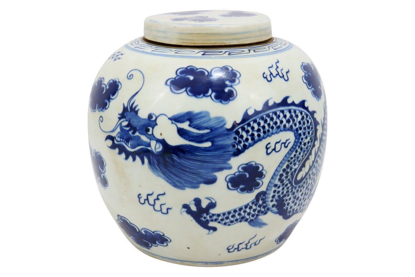 blue white ginger jar vases of vintage style blue and white porcelain lidded ginger jar dragon for vintage style blue and white porcelain lidded ginger jar dragon motif 12