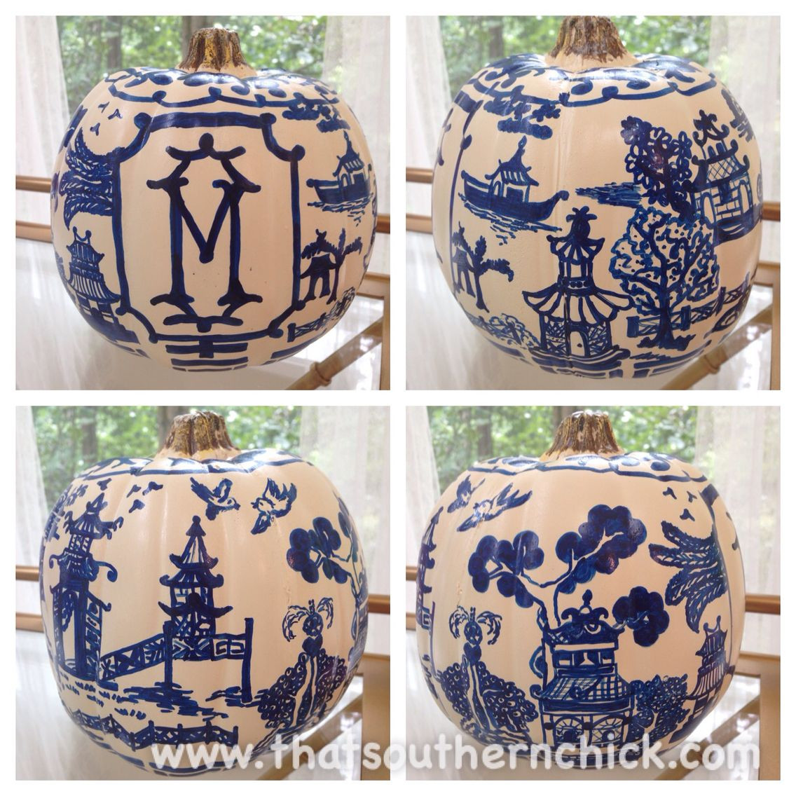 blue willow vase of chinoiserie inspired painted pumpkin craft by that southern chick in chinoiserie inspired painted pumpkin craft by that southern chick blue willow china blue and white