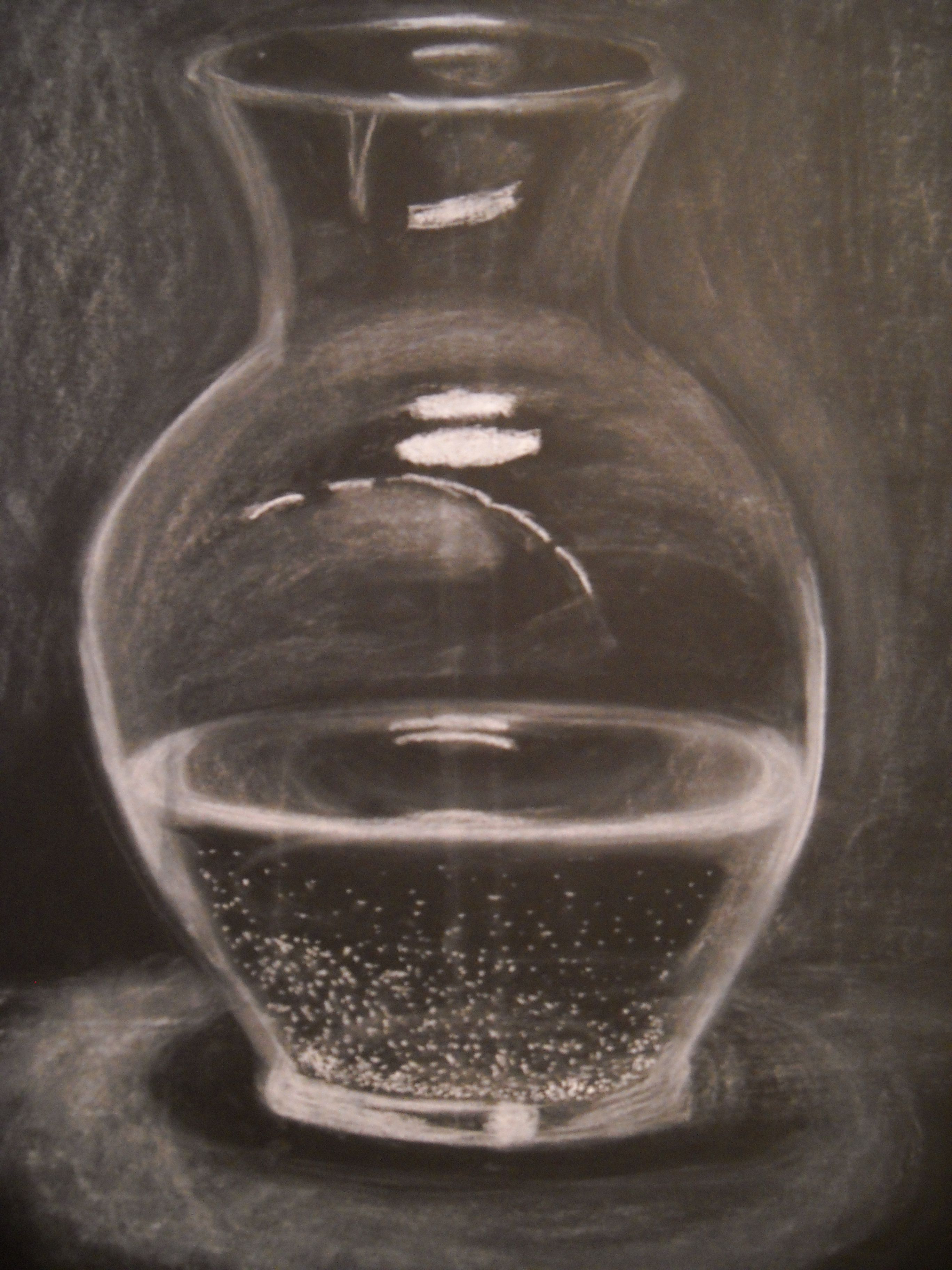 Blush Pink Glass Vase Of Glass Vase Filled with Water Done In White Chalk On Black Drawing In Glass Vase Filled with Water Done In White Chalk On Black Drawing Paper