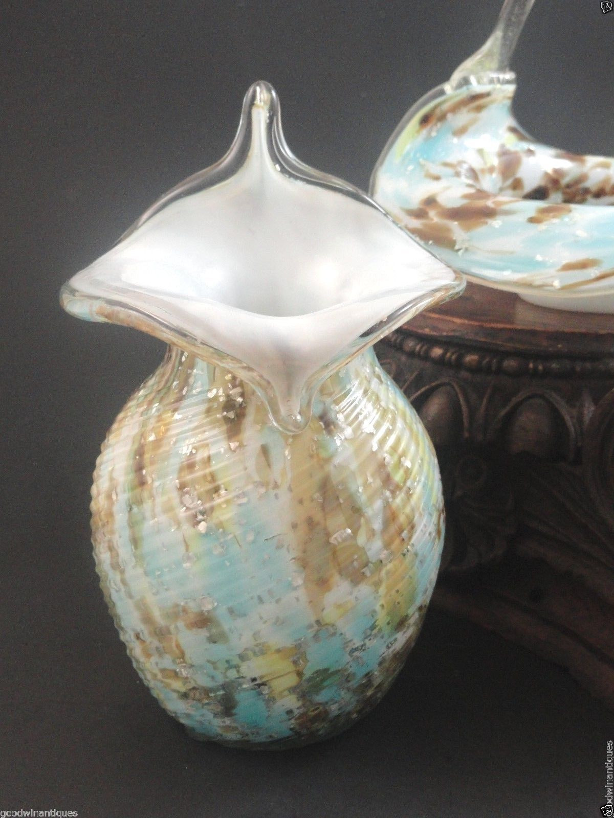 bohemian cut glass vase of antique bohemian harrach spatter mica spangle art glass jack in regarding antique bohemian harrach spatter mica spangle art glass jack in pulpit jip vase ebay