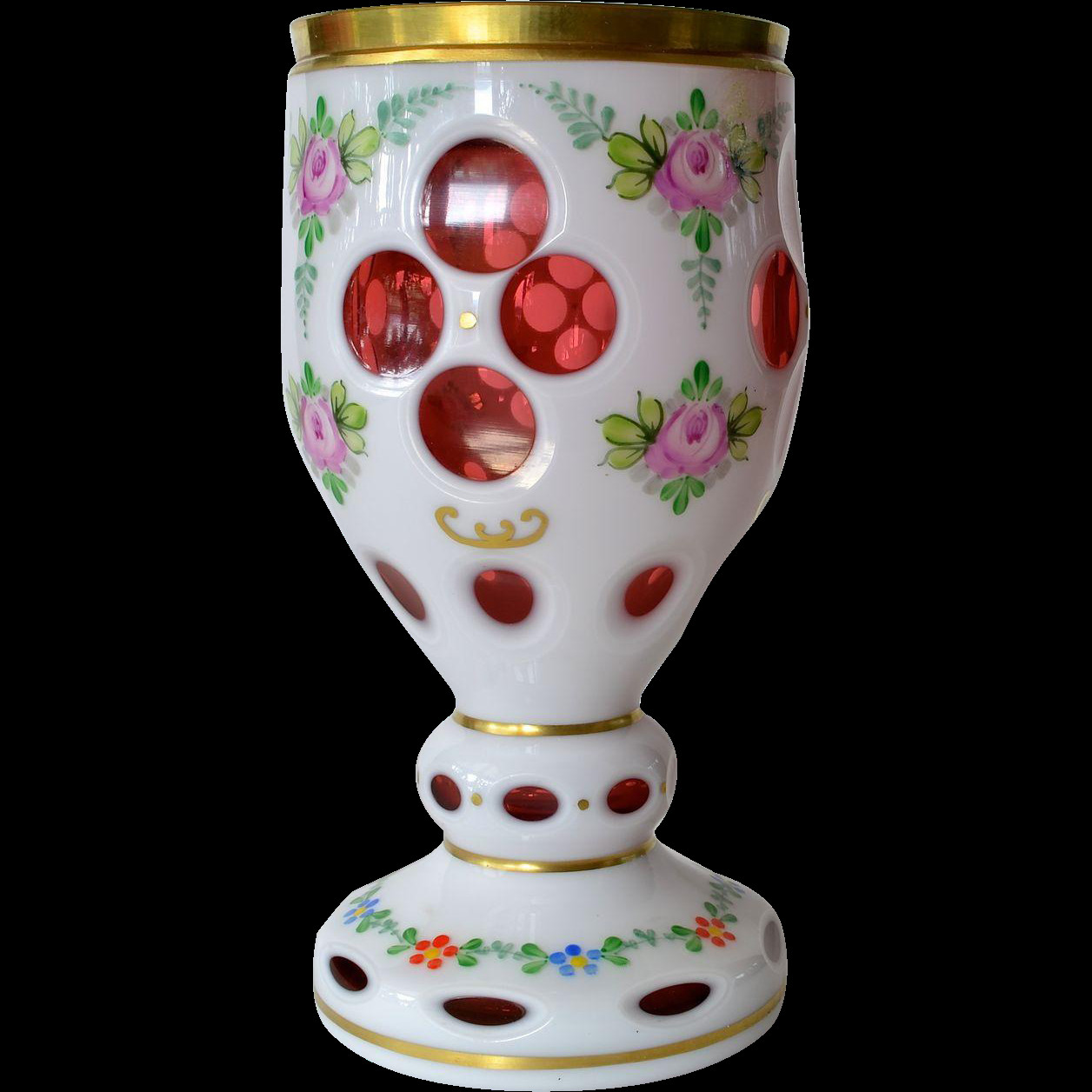 Bohemian Glass Vase Of A Bohemian Cranberry White Overlay Vintage Goblet 1930c Czech Throughout A Bohemian Cranberry White Overlay Vintage Goblet 1930c