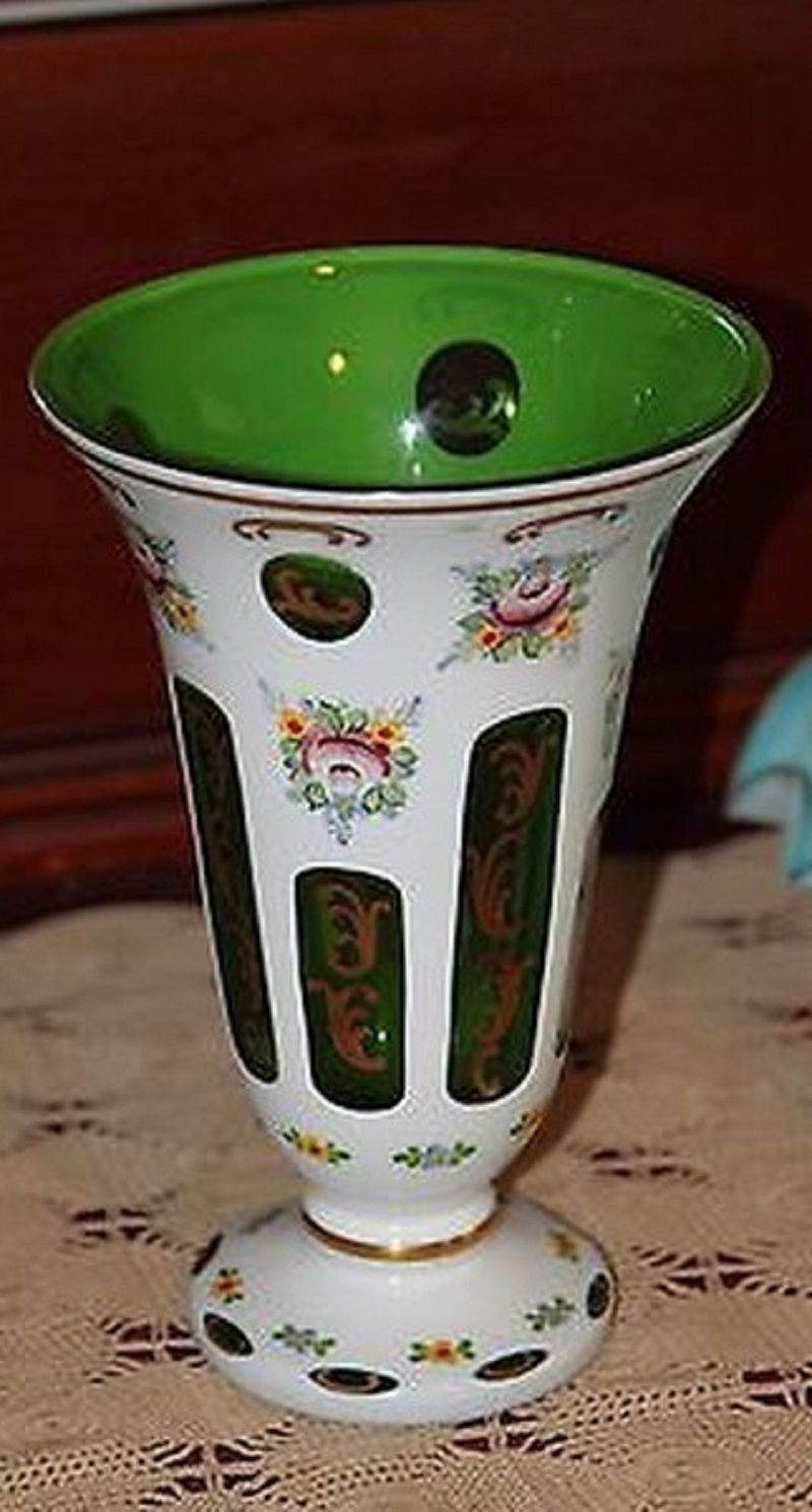 Bohemian Glass Vase Of Bohemian Czech Handpainted Cased Glass Vase Emerald Green Moser Intended for Bohemian Czech Handpainted Cased Glass Vase Emerald Green Moser