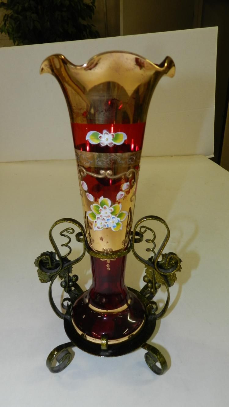 Bohemian Glass Vase Of Lovely Hand Painted Bohemian Vase Czech Glass High Enamel with Lovely Hand Painted Bohemian Vase