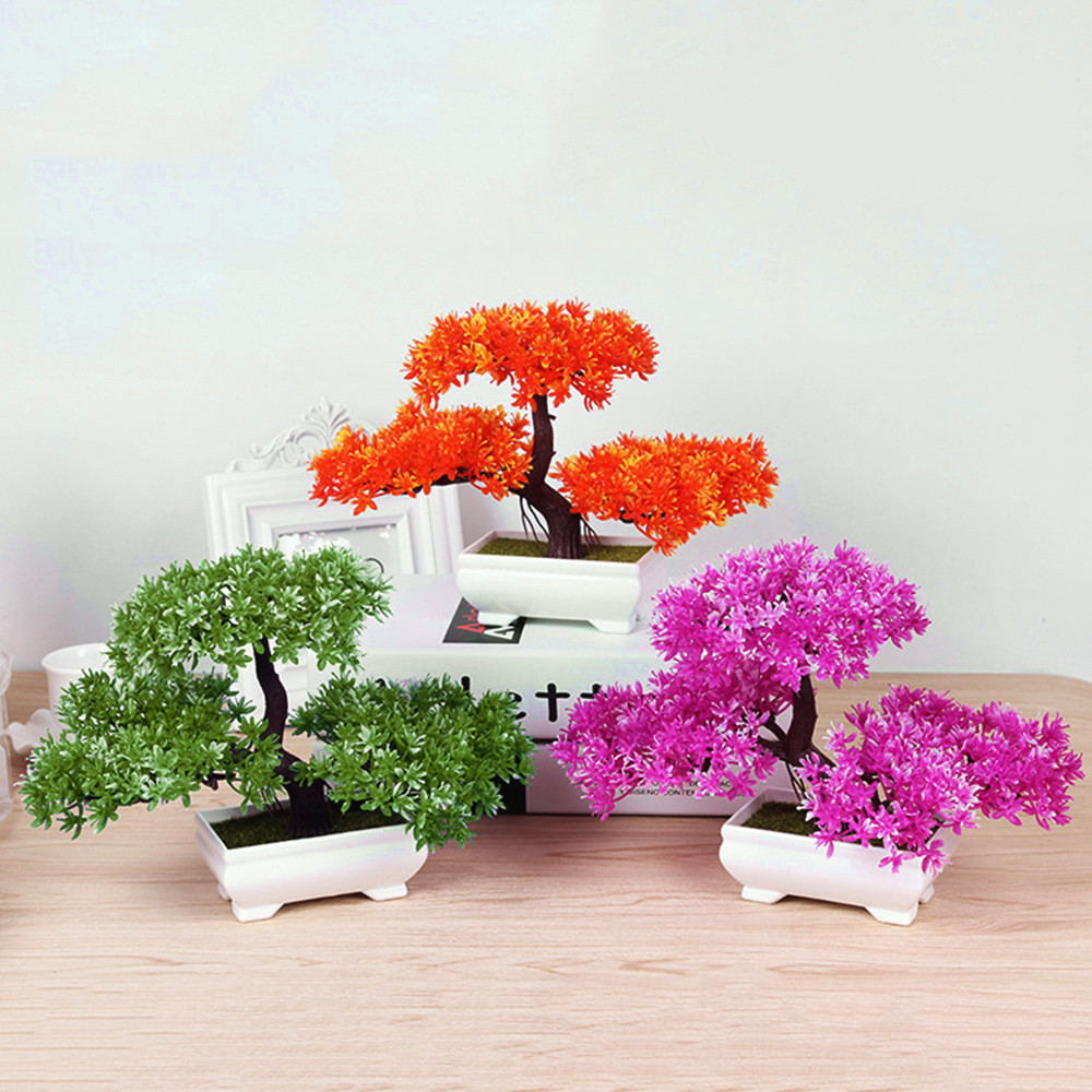 bonsai tree vase of artificial plants bonsai small tree pot plants fake flowers potted for material plastic color green purple yellow orange size 2718cm weight 0 200kg product list1pc welcoming pine plant plastic bonsai