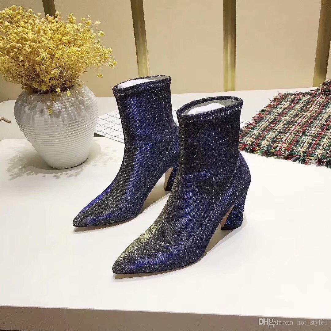 boot vase wholesale of elastic woman pointed toe rhinestone heel ankle boots winter fashion inside customer satisfaction