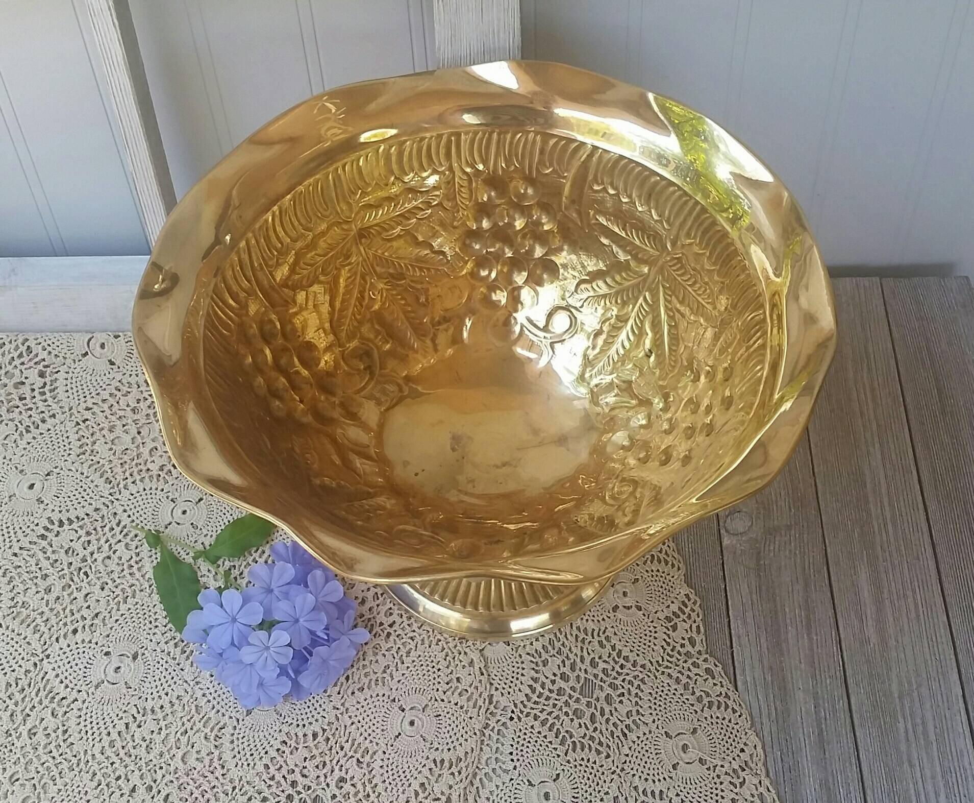 brass bud vase india of large vintage brass pedestal bowl wedding flower vase etsy for image 2