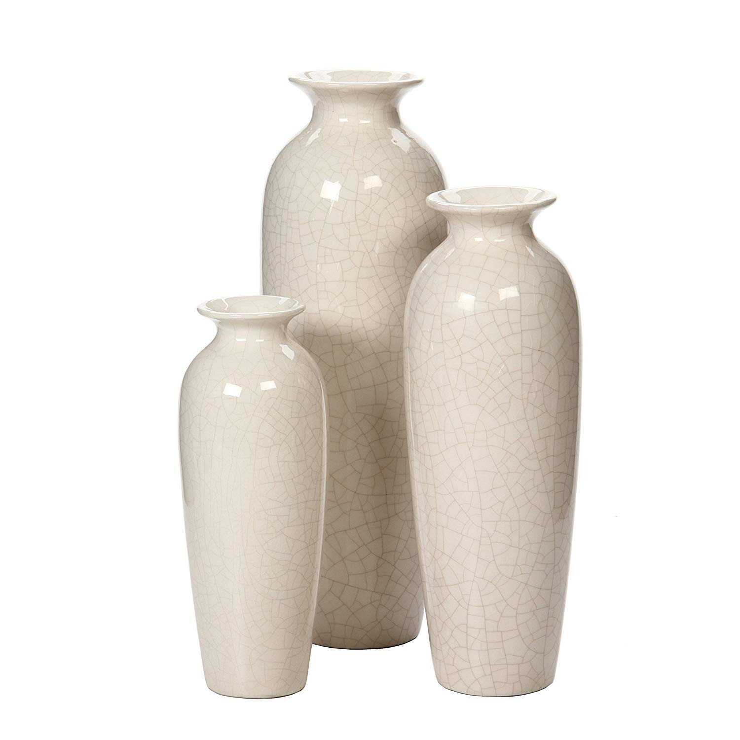 burl wood vase of amazon com hosley set of 3 crackle ivory ceramic vases in gift box with amazon com hosley set of 3 crackle ivory ceramic vases in gift box ideal gift for wedding or special occasions for use in home office decor