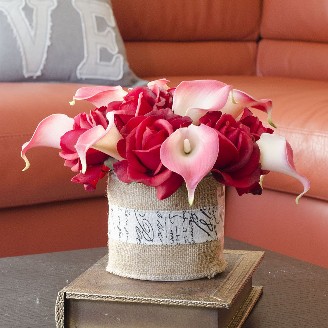 calla lily in vase photo of real touch red rose pink calla lily burlap vase 155 crafts inside real touch red rose pink calla lily burlap vase 155