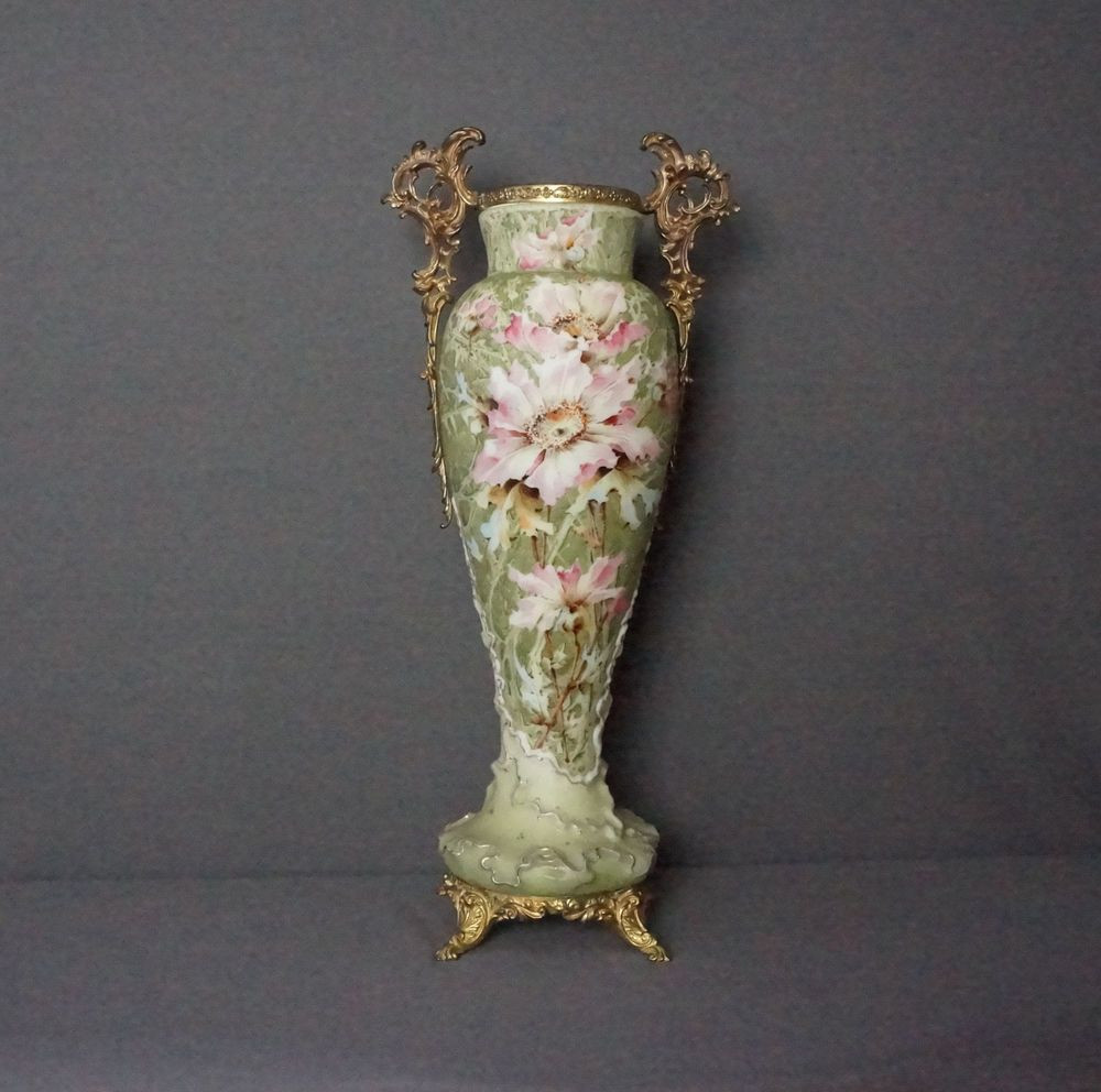 Cameo Glass Vase Of Antique C F Monroe Kelva Glass Vase Heavy Brass ormolu Stand Handles with Antique C F Monroe Kelva Glass Vase Heavy Brass ormolu Stand Handles Large 18 5