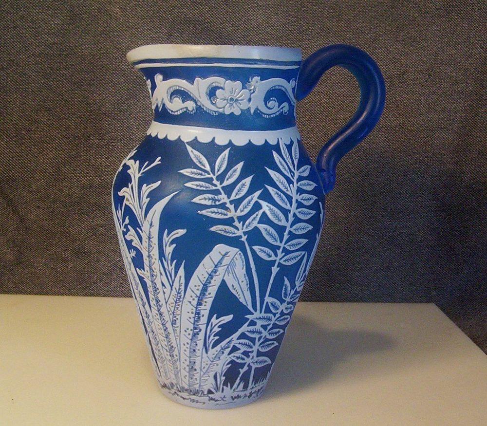 cameo glass vase of antique thomas webb cameo glass pitcher vase fern flower leaf blue intended for antique thomas webb cameo glass pitcher vase fern flower leaf blue white cased ebay 131 31