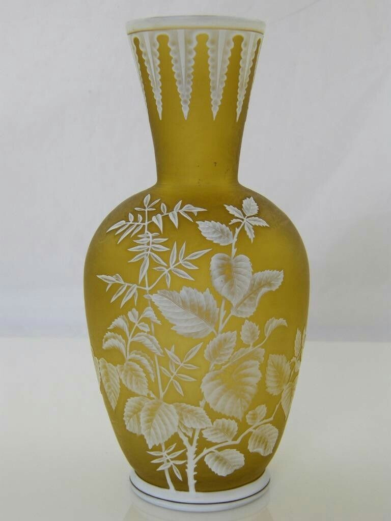 Cameo Glass Vase Of C 1880 Antique Thomas Webb Citrene Cameo Glass Vase Stourbidge for A Superb Thomas Webb Stourbridge Cameo Cut Citrene Glass Vase with White Borders Around the top Bottom and Depicting A Floral Scene Around the Body