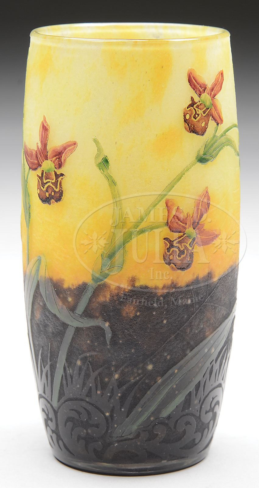 cameo glass vase of james d julia inc daum nancy french cameo vase tumbler shaped regarding james d julia inc daum nancy french cameo vase tumbler