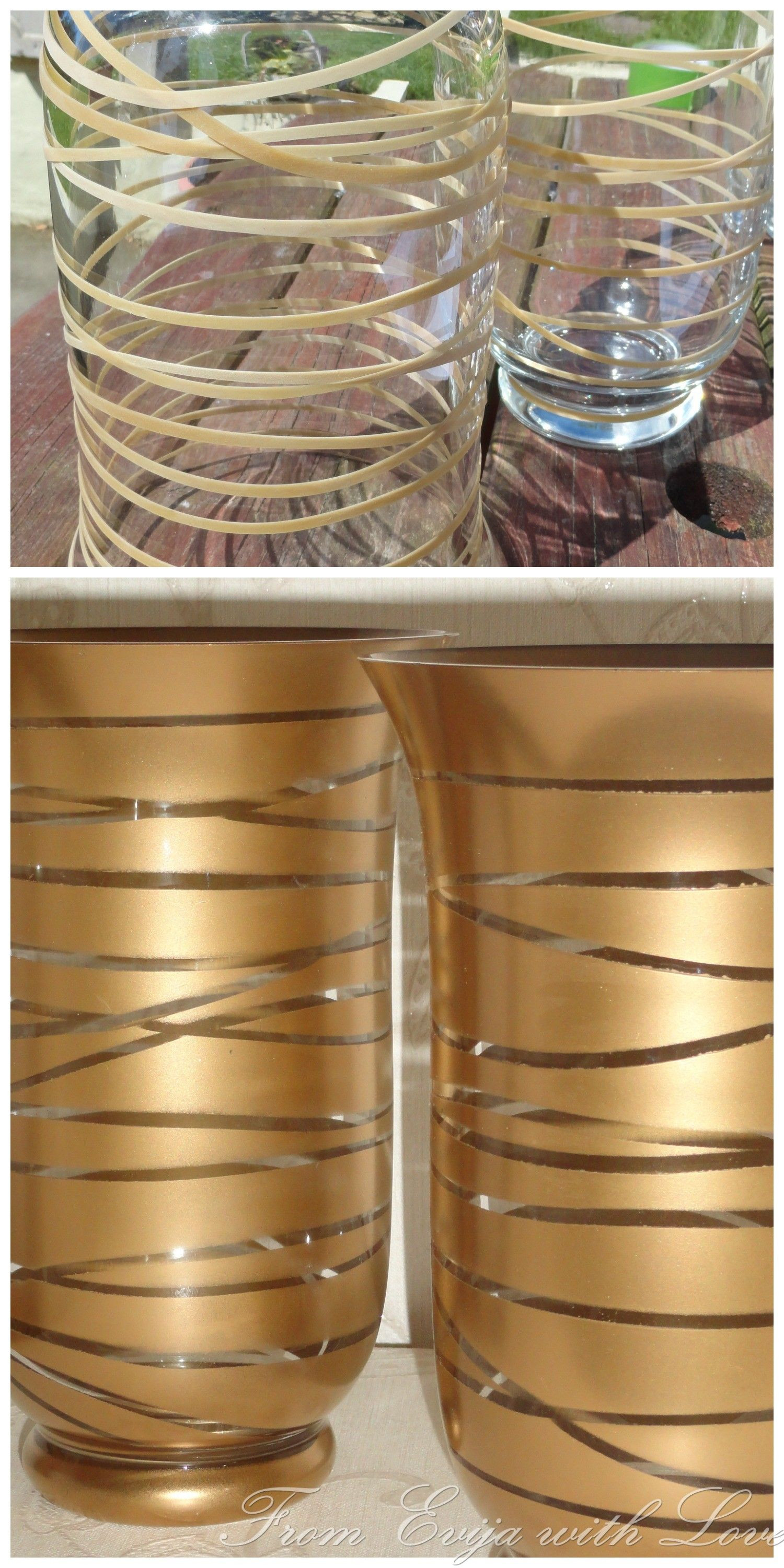 can you spray paint glass vases of transform an old glass container into a beautiful piece using gold regarding rubber band painting hack spray paint diy decor copper spray paint spray painting metal