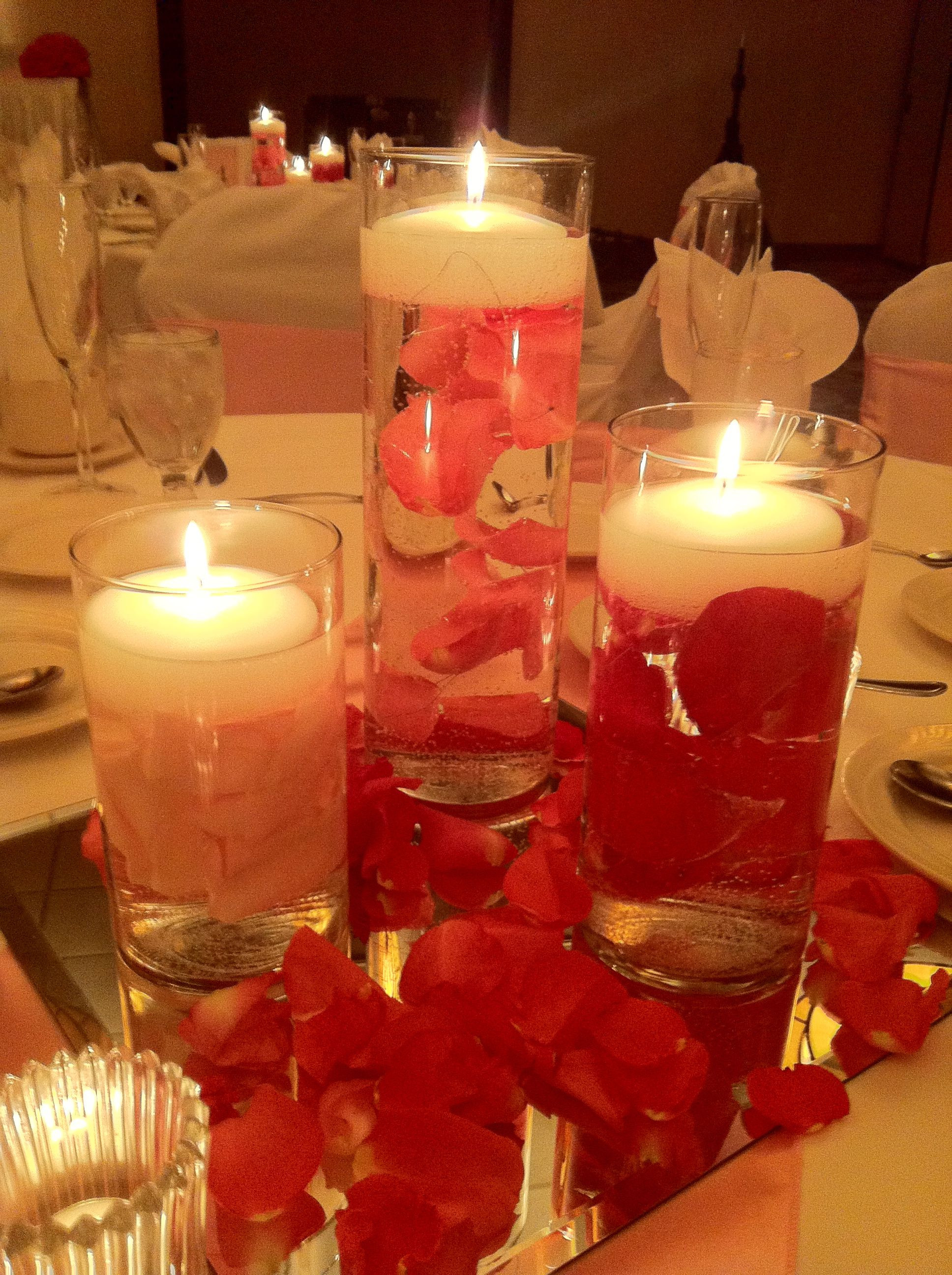 candle vase wedding centerpieces of floating rose petal centerpiece cylinder centerpieces candles in floating rose petal centerpiece cylinder centerpieces candles