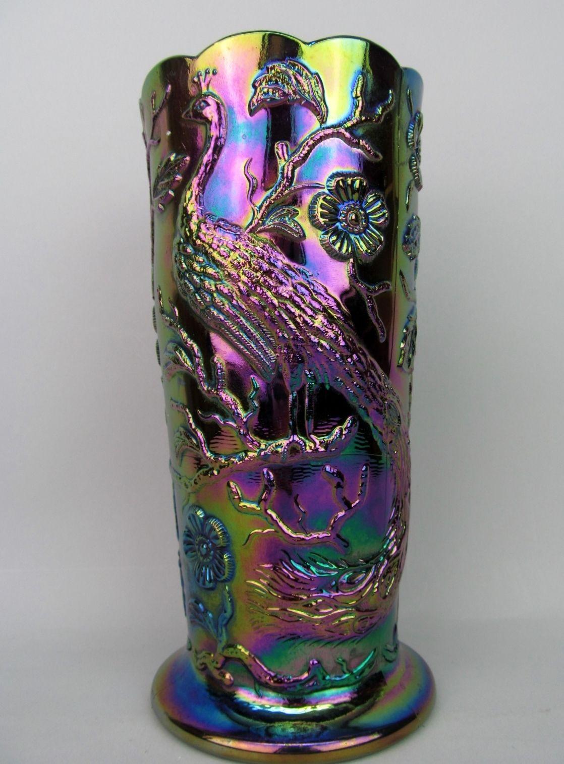 carnival glass vase of fentons peacock garden on a black amethyst carnival glass vase throughout fentons peacock garden on a black amethyst carnival glass vase