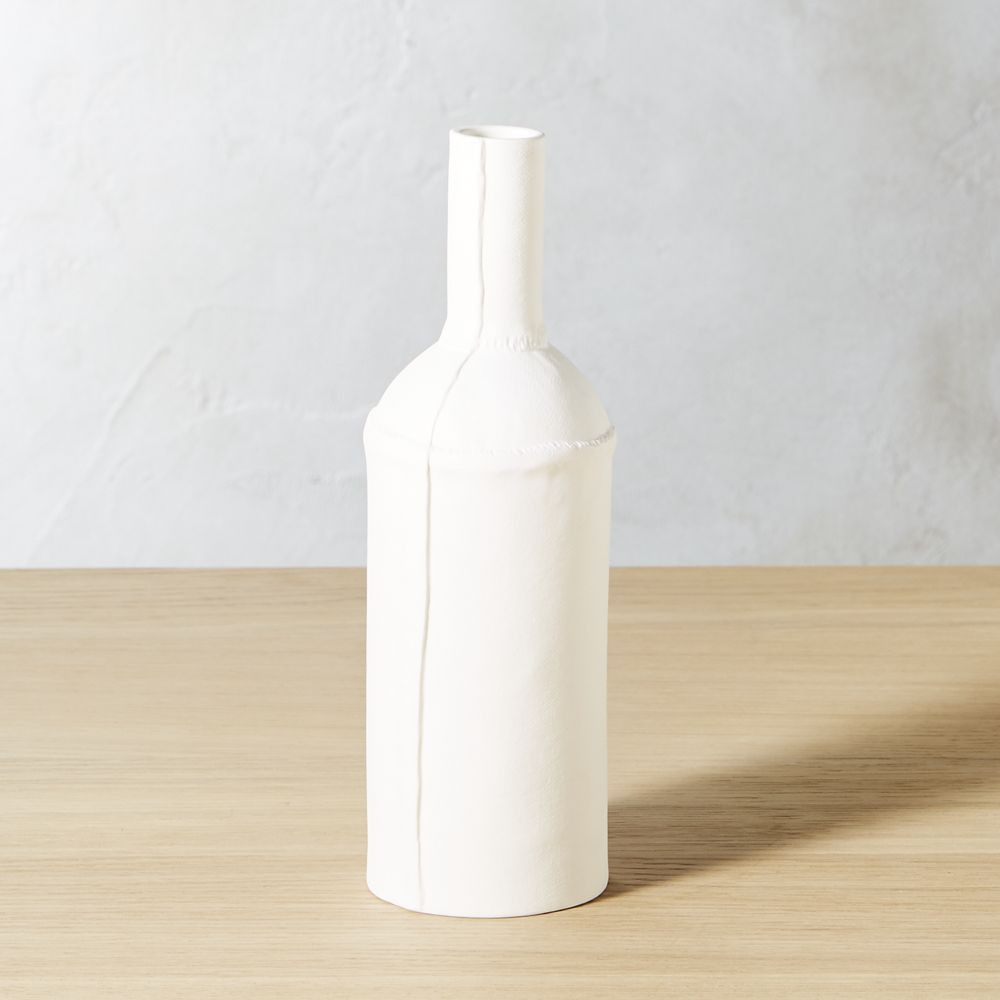 cb2 white vase of arteriors home lykos satin white vase inside bottle white vase