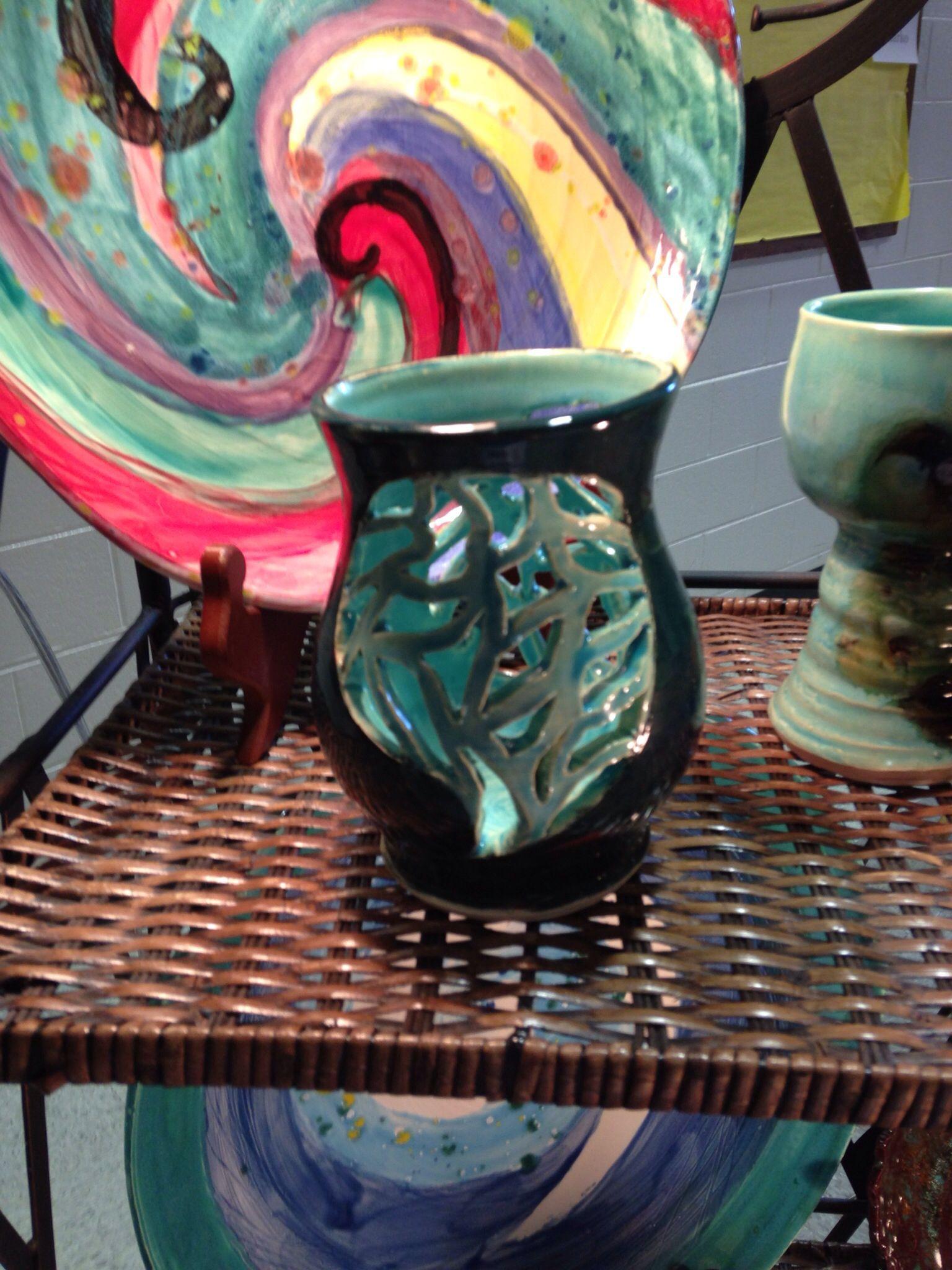 Cemetery Vases Metal Of Pierced Teal Vase Pottsability Pottery Pinterest Pottery for Pierced Teal Vase