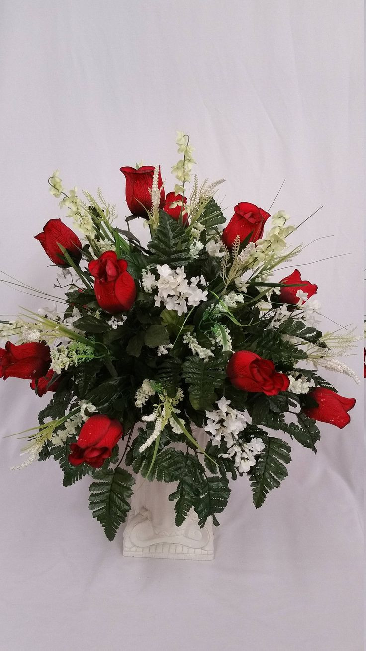 Cemetery Vases Metal Of the 24 Best Cemetery Vase Images On Pinterest Vase Cemetery and Ferns within Cemetery Vase Deep Red Rose Buds with Black Edges Beautiful This Arrangement Of Red Roses White Lilacs White Filler and Fern