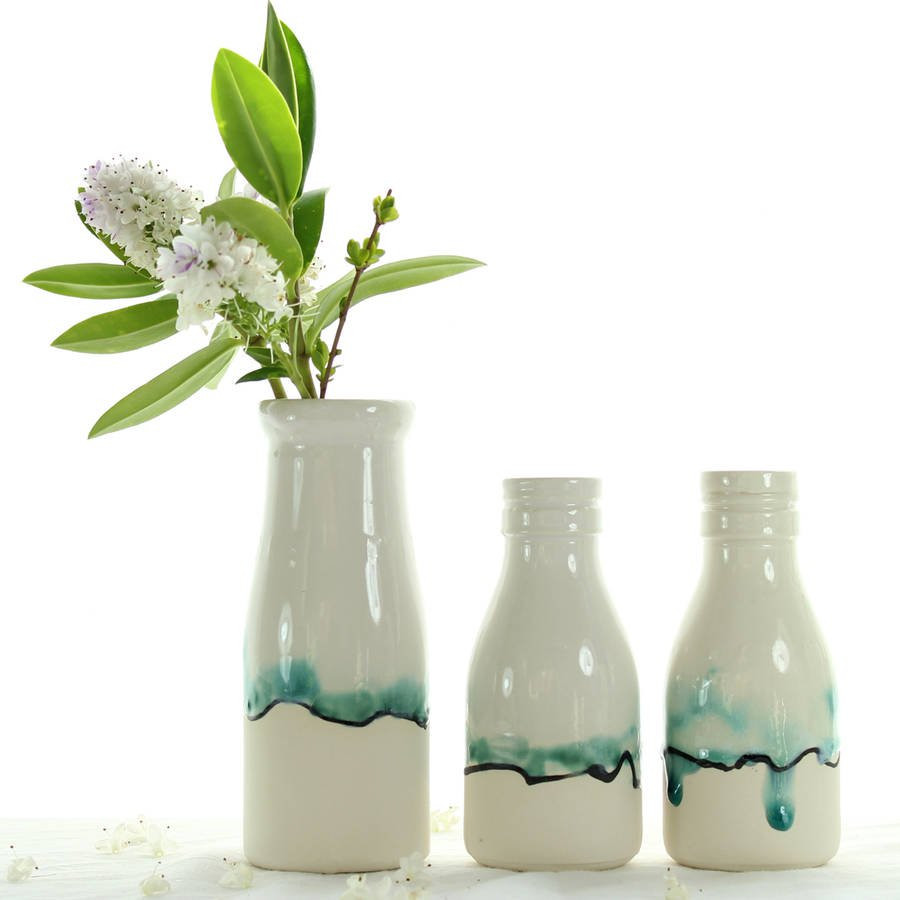 ceramic bag vase of milk bottle vase with landscape painting by helen rebecca ceramics with milk bottle vase with landscape painting