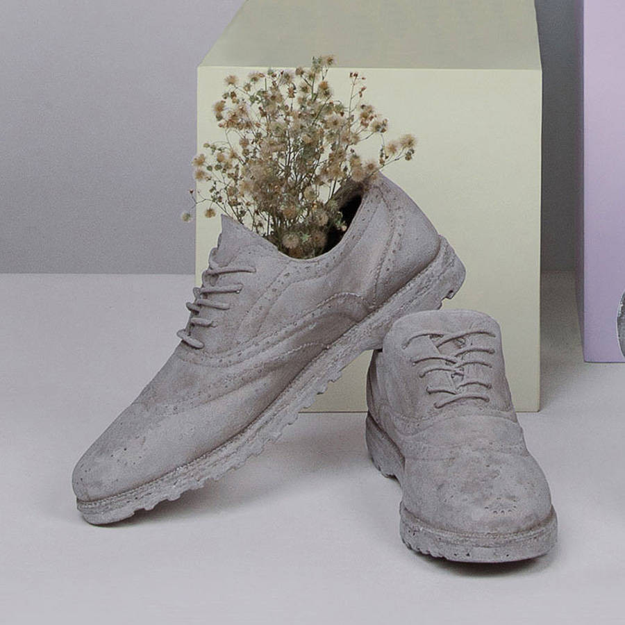 ceramic boot vase of concrete shoes by out there interiors notonthehighstreet com for concrete shoes