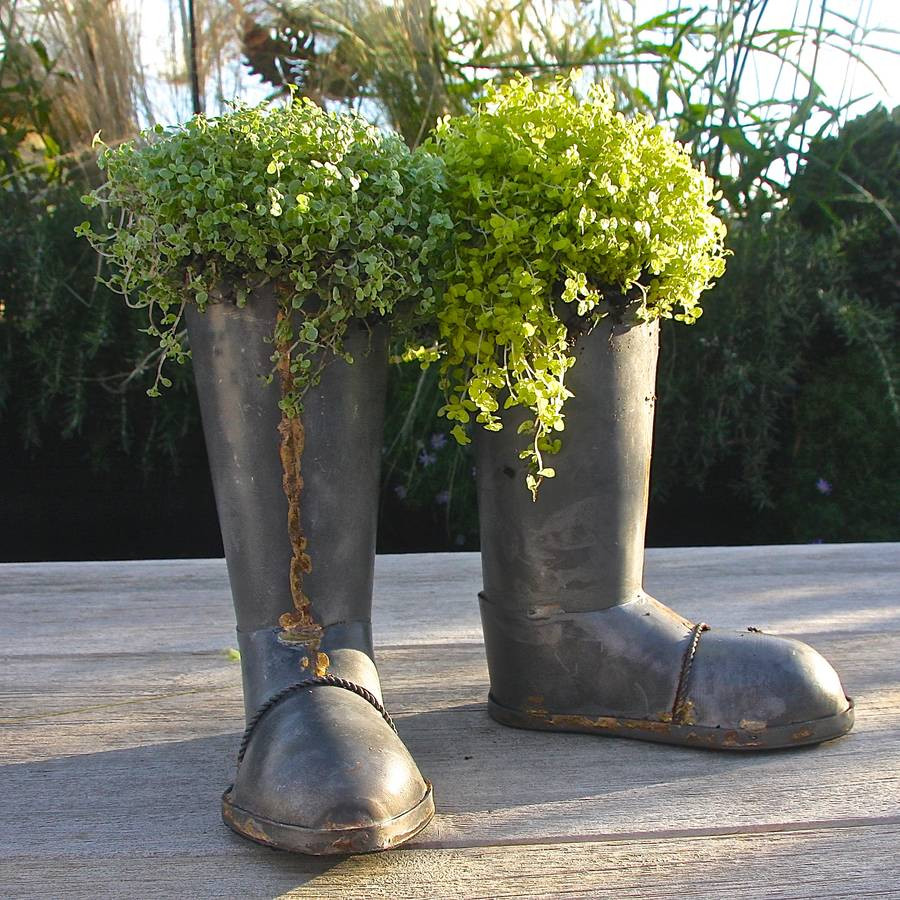 ceramic boot vase of zinc wellington boot planters by london garden trading within zinc wellington boot planters