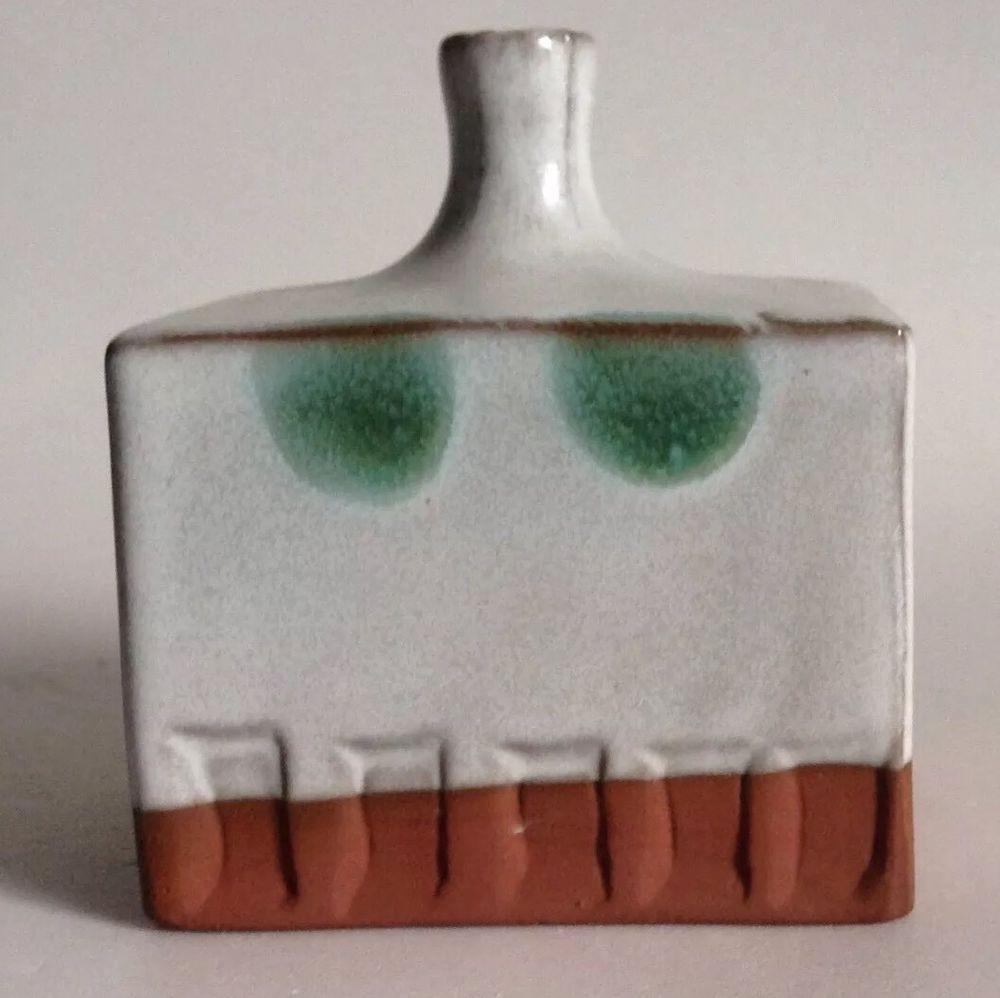 ceramic bud vase of redware pottery bud vase cuboid stamped design white glaze green throughout redware pottery bud vase cuboid stamped design white glaze green polka dots 3
