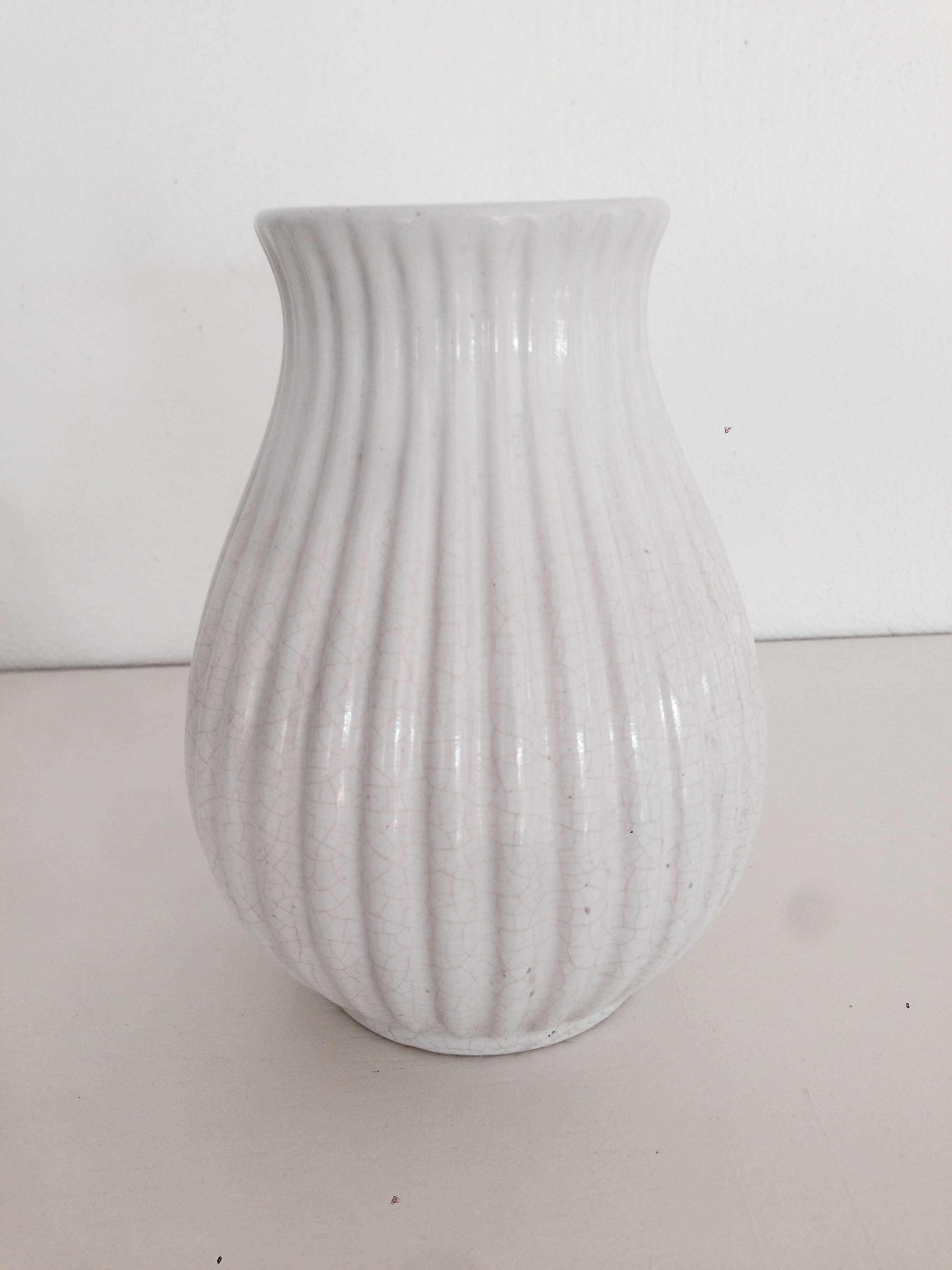 Ceramic Pumpkin Vase Of Michael andersen Riflet Keramik Vase White All Shades 50s 60s for Antique Pottery A· Michael andersen Riflet Keramik Vase