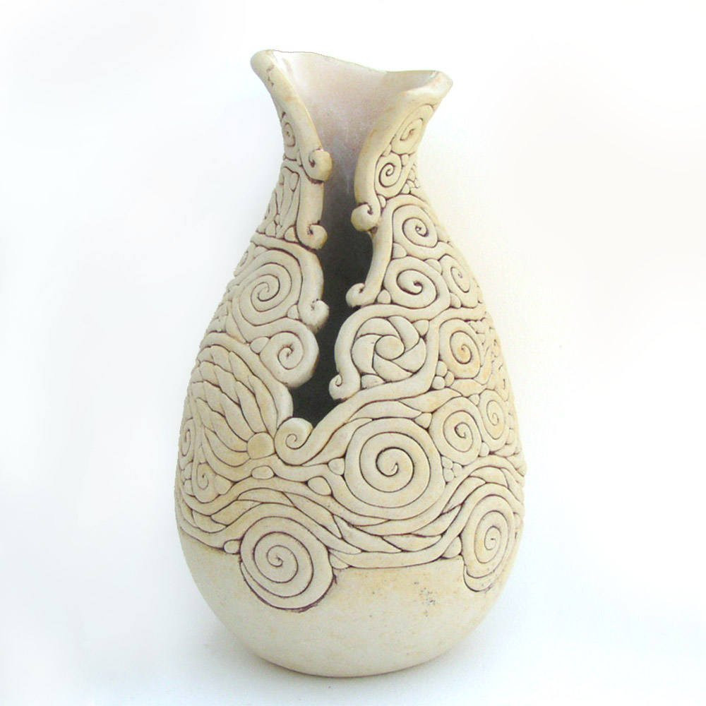 "ceramic rain boot vase of ivory colored coil vase exposed coil vessel decorative etsy intended for dŸ""Žzoom"