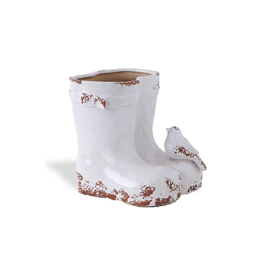ceramic rain boot vase of white ceramic weathered double boot planter 7 5 white ceramics with regard to white ceramic weathered double boot planter 7 5