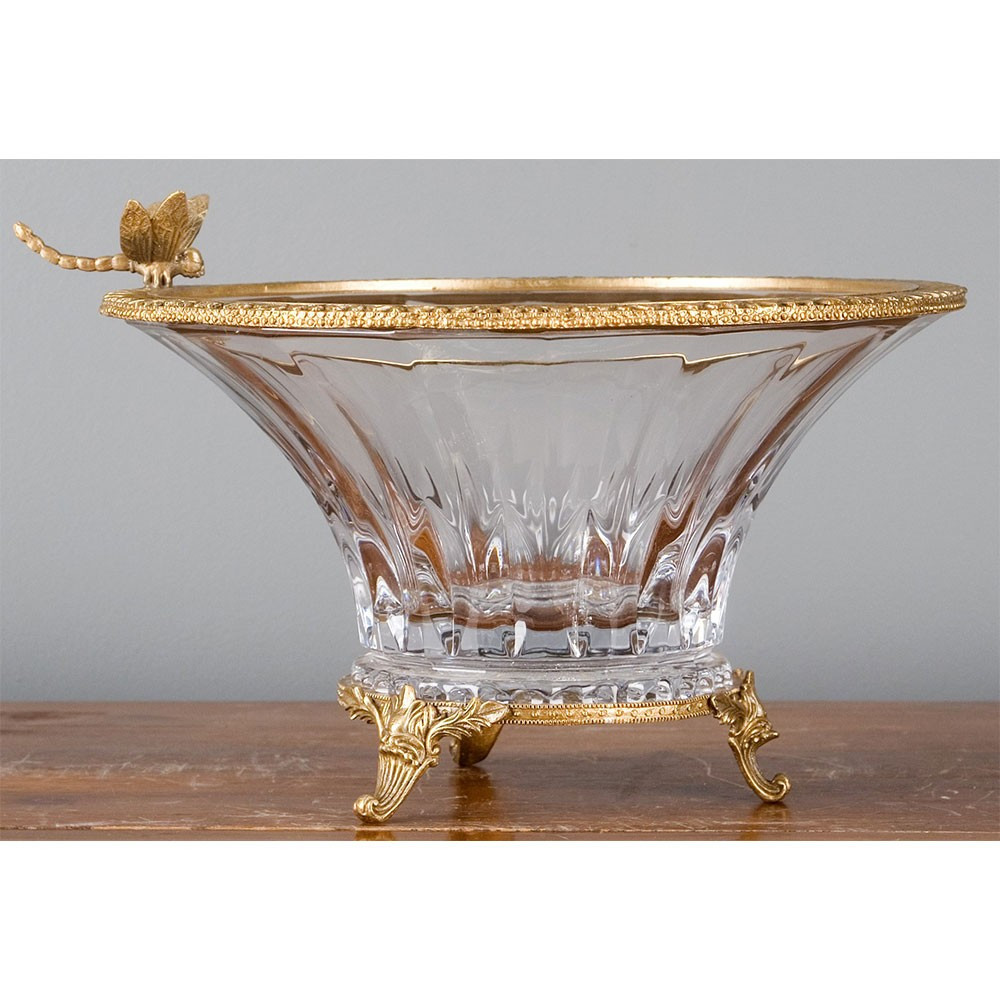ceska crystal vase of czech bohemia crystal basin bronze ormolu brass burl 14091 with czech bohemia crystal basin
