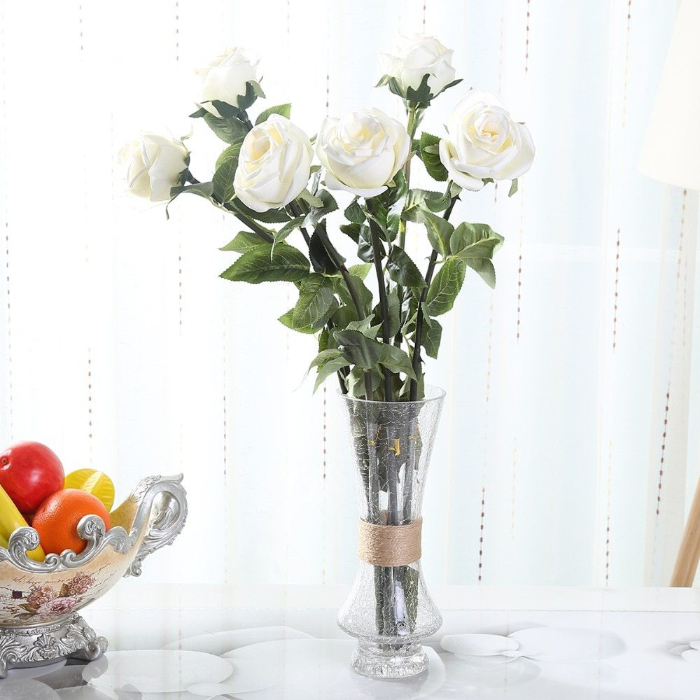 Cheap Blue Vases In Bulk Of 24 8pu Roses wholesale Cheap Real touch Artificial Flowers 6 Inside the Price is Based On 15 Pcs and without Vaseand for Easy Transportationmaybe We Will Curve the Stemafter You Get themjust Make them Straight Again or