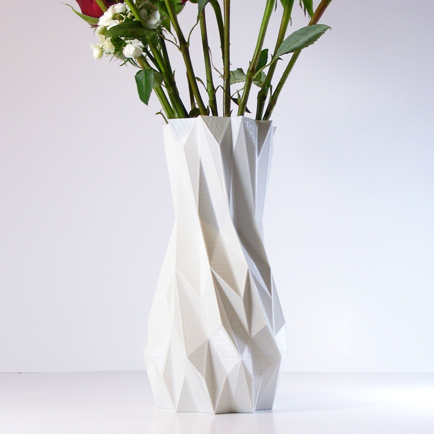 Cheap Geometric Vases Of 3d Printed White Vase Living Room Decor Modern Tall Vase Modern In 3d Printed White Vase Living Room Decor Modern Tall Vase Modern Geometric Vase Room Decor Tall Vases and White Vases