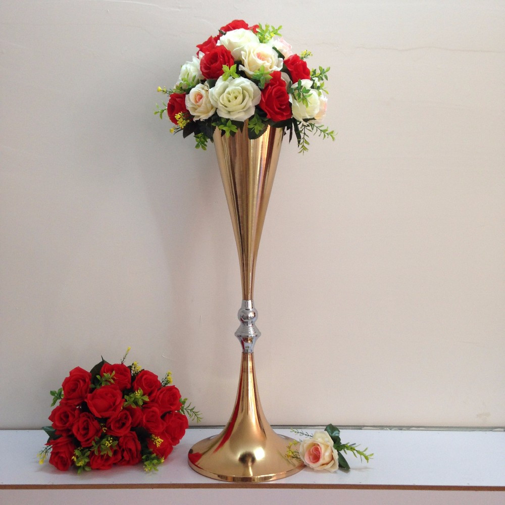 cheap gold vases for centerpieces of aliexpress com buy free shipping gold wedding centerpiece table throughout aliexpress com buy free shipping gold wedding centerpiece table decor metal flower vase wedding decoration 70cm tall 10pcs lot from reliable vase decor