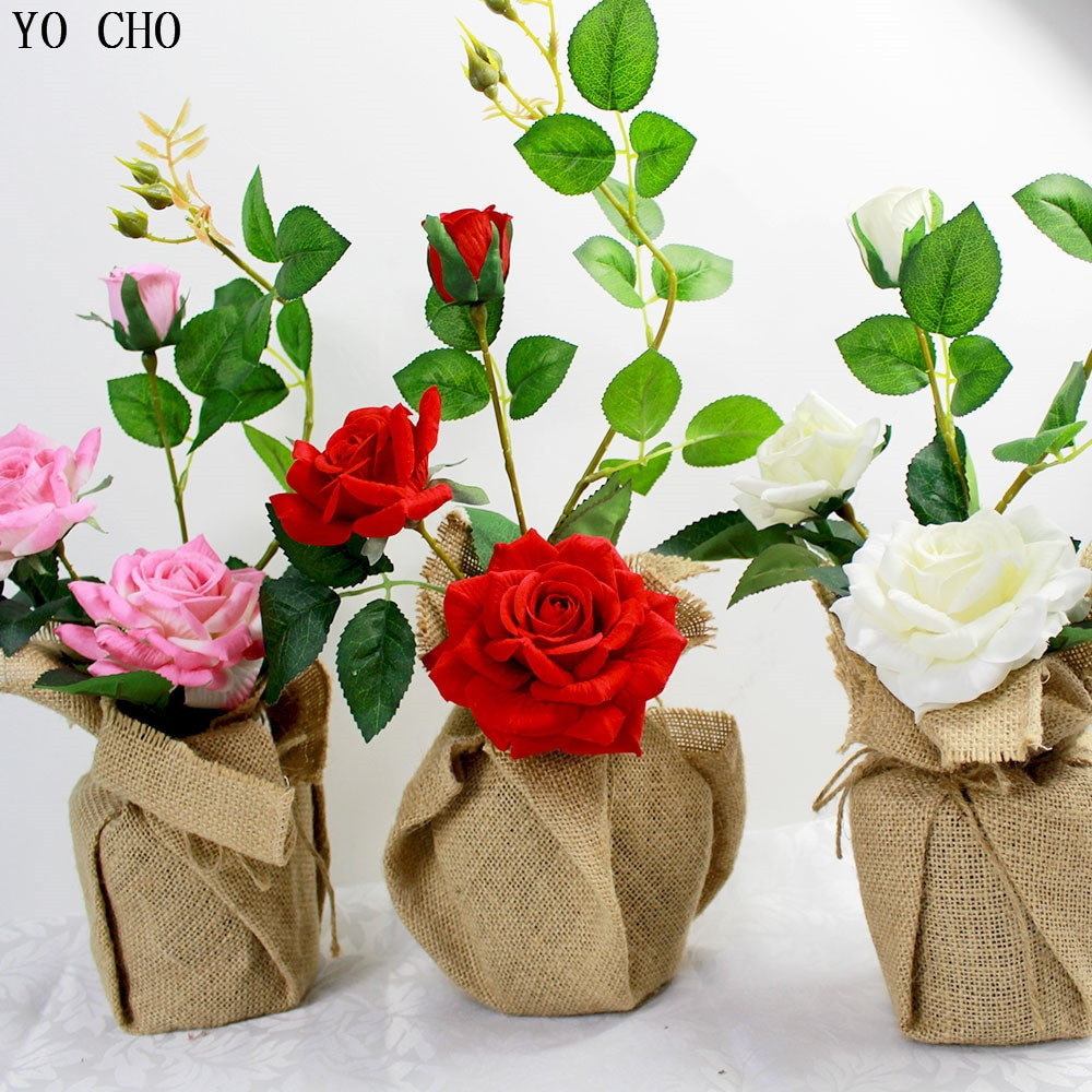 cheap wholesale flower vases of wholesale wedding flower set artificial roses potted flowers linen within wholesale wedding flower set artificial roses potted flowers linen vase with vase party birthday gift christmas home decoration in artificial dried