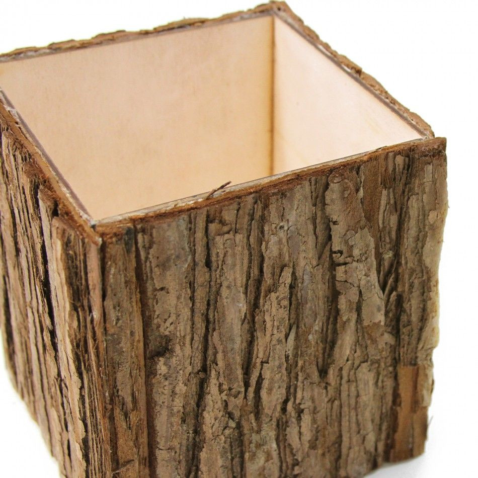 cheap wooden vases of natural wood bark cube vases 404463 wholesale wedding supplies intended for natural wood bark cube vases 404463 wholesale wedding supplies discount wedding favors party favors and bulk event supplies