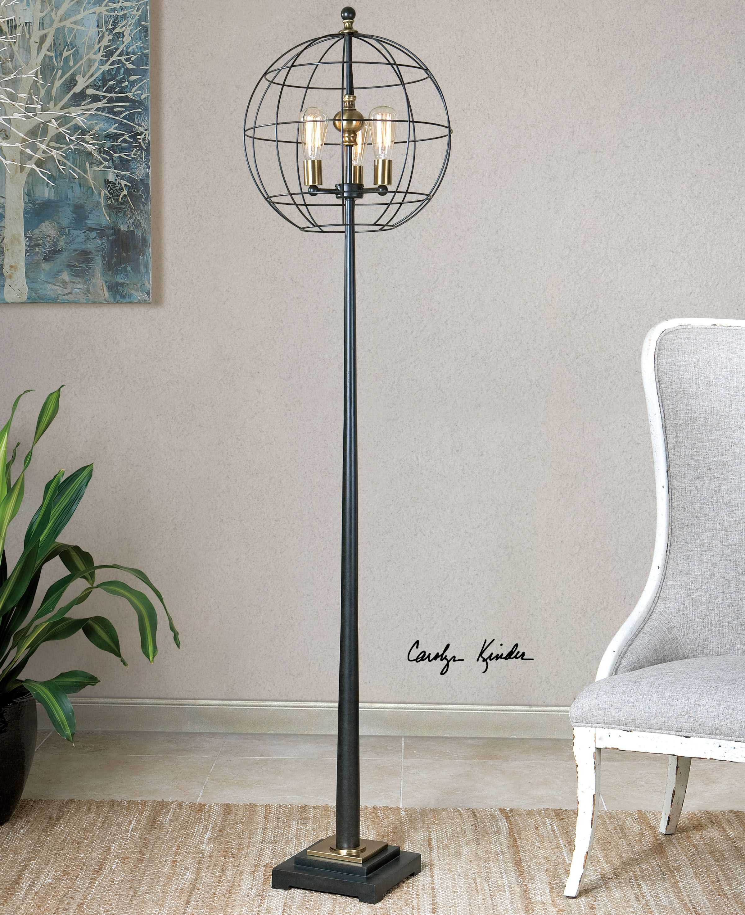 chelsea house vase of uttermost palla aged black three light round cage floor lamp ut286281 with regard to uttermost palla aged black three light round cage floor lamp