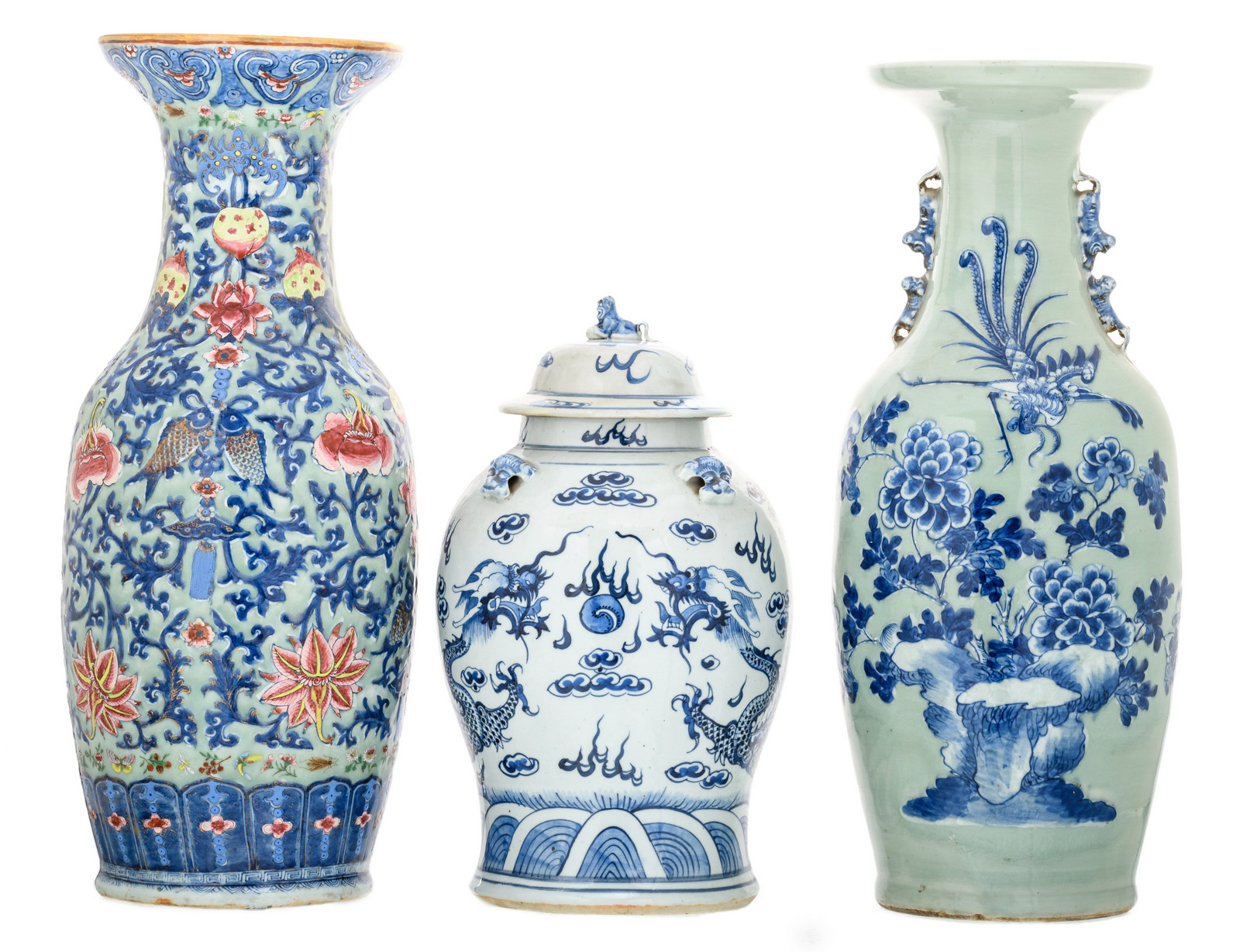 chinese blue porcelain vases of a chinese celadon ground blue and white decorated vase with a with lot 35 a chinese celadon ground blue and white decorated vase with a phoenix
