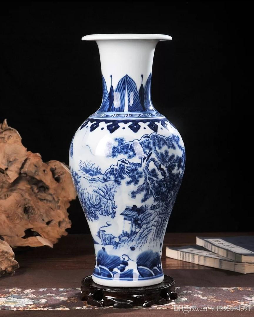 Chinese Blue White Vase Of 2018 Ceramic Vase Hand Painted Blue and White Porcelain Home within Ceramic Vase Hand Painted Blue and White Porcelain Home Decoration Living Room Antique China Decorative