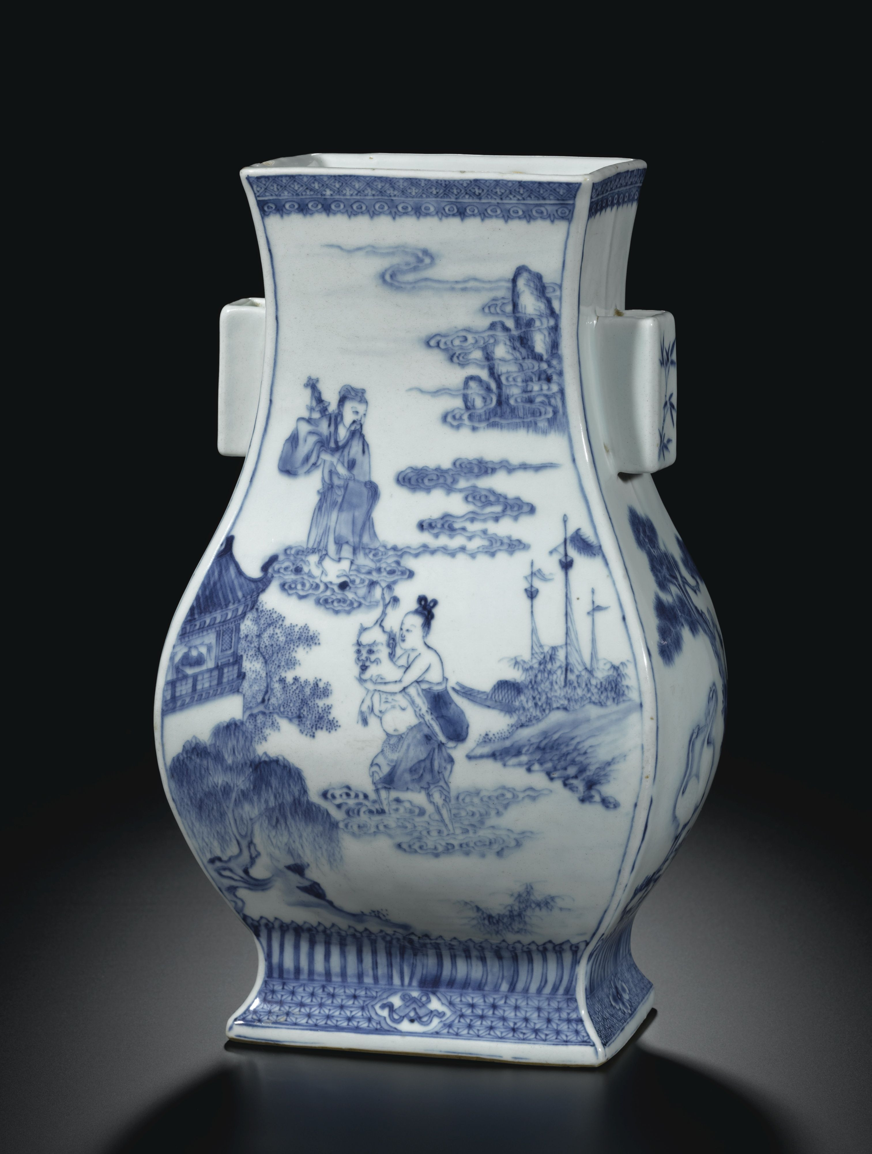 chinese blue white vase of vase sothebys i property from a private collection a blue and pertaining to vase sothebys i property from a private collection a blue and white immortals handled vase fanghu qing dynasty 18th century estimate 300000