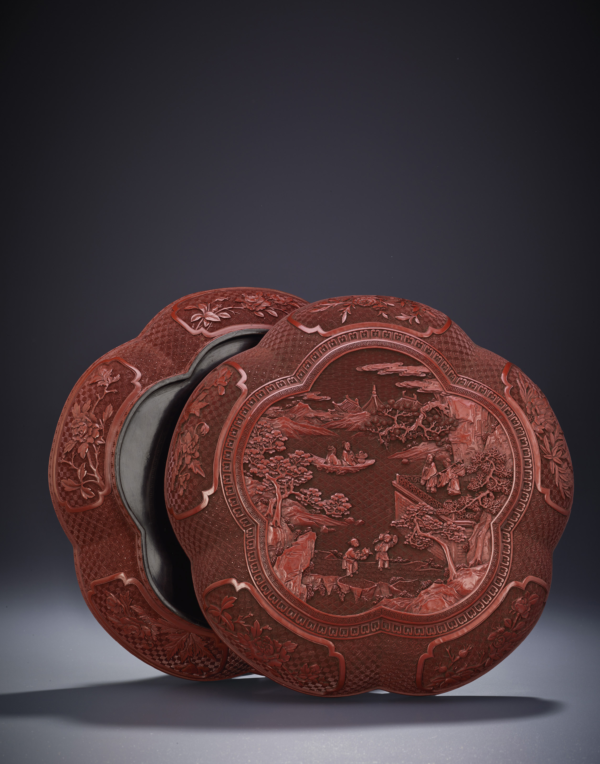 chinese cinnabar lacquer vase of a carved cinnabar lacquer pentafoil box and cover qianlong period for lot 3511