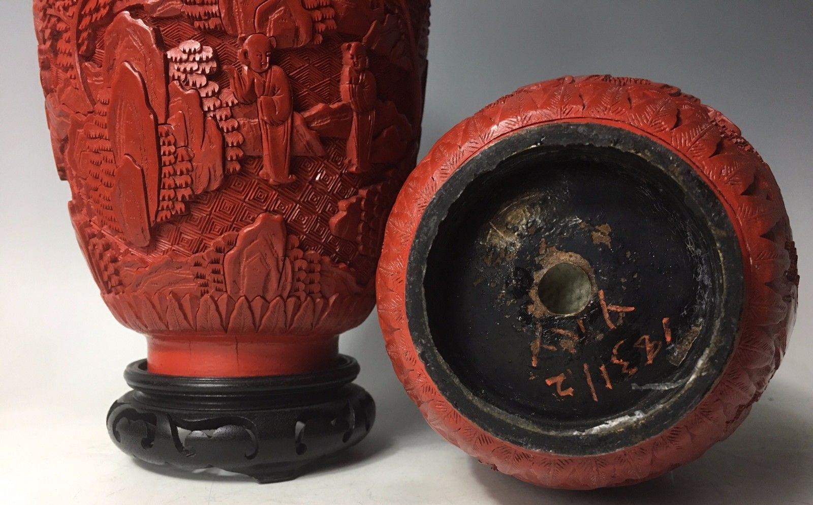 chinese cinnabar lacquer vase of republic era pair of vintage antique chinese carved cinnabar lacquer regarding carved cinnabar lacquer vases 2 of 9