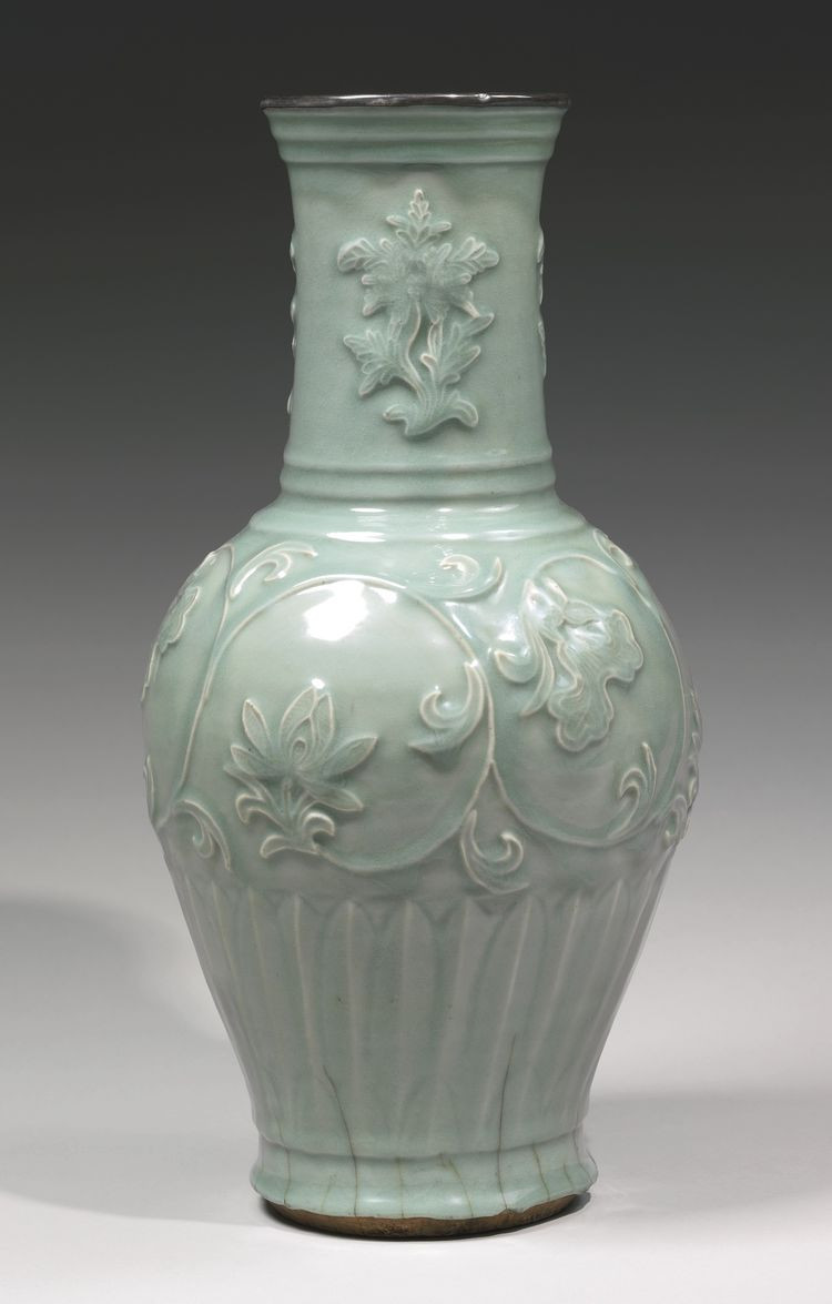 chinese meiping vase of a rare molded longquan celadon vase yuan dynasty robust for a rare molded longquan celadon vase yuan dynasty robustly potted of large baluster shape with an ovoid body rising to a tall cylindrical neck