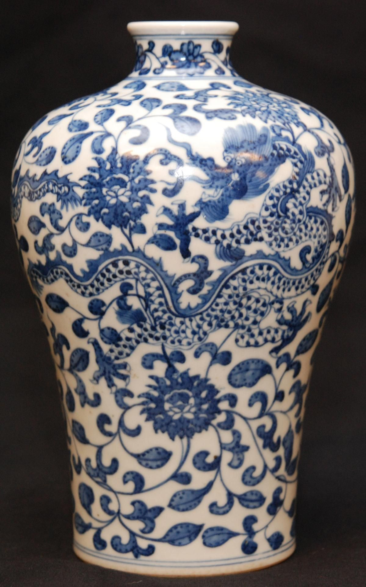 chinese meiping vase of chinese qianlong porcelain dragons vase chinese qing dynasty throughout chinese qianlong porcelain dragons vase chinese qing dynasty qianlong hand painted blue and white porcelain mei ping vase having dragon and lotus blossom
