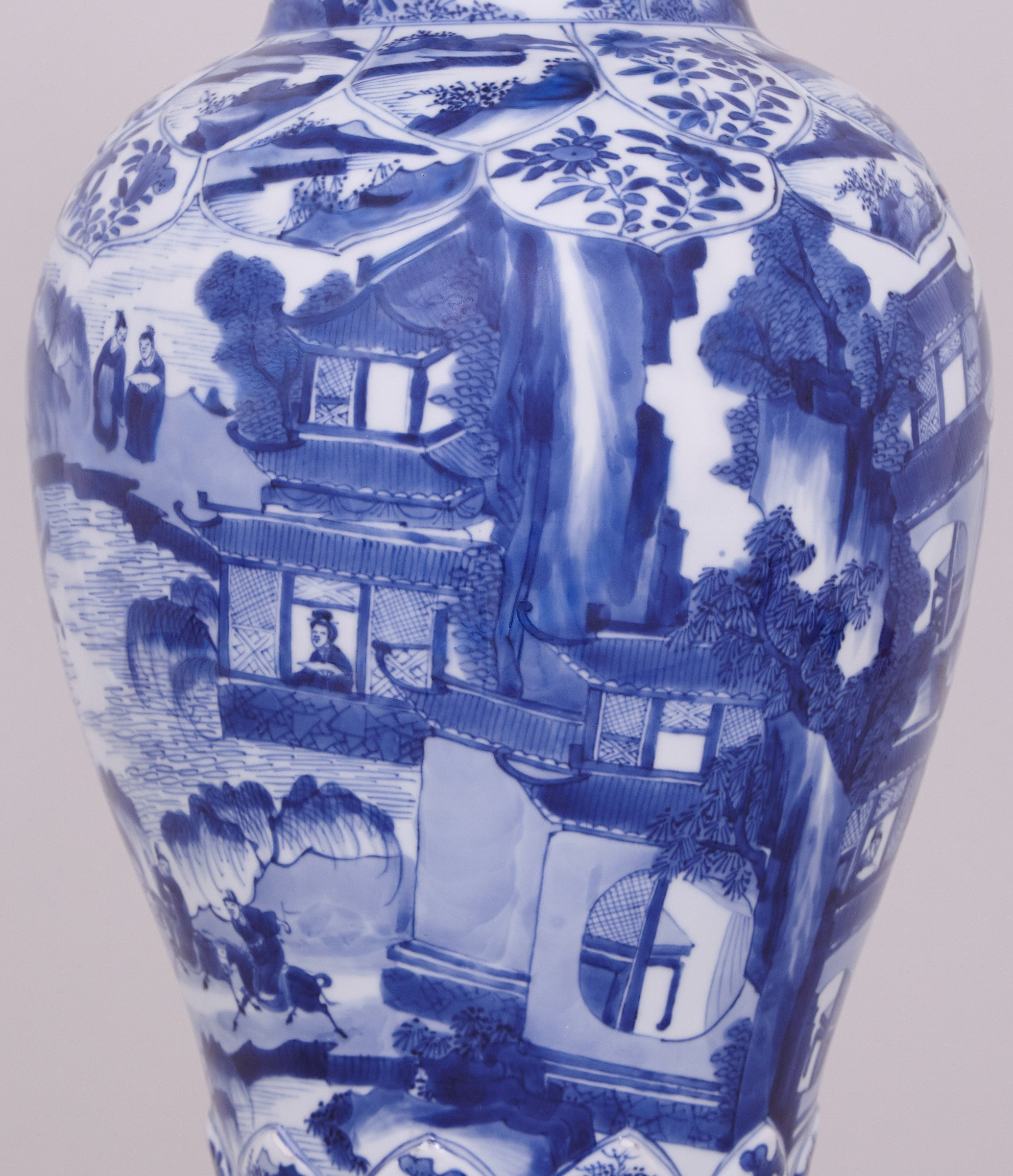 chinese style vase of a pair of highly unusual tall and fine chinese blue and white vases within a pair of highly unusual tall and fine chinese blue and white vases and covers