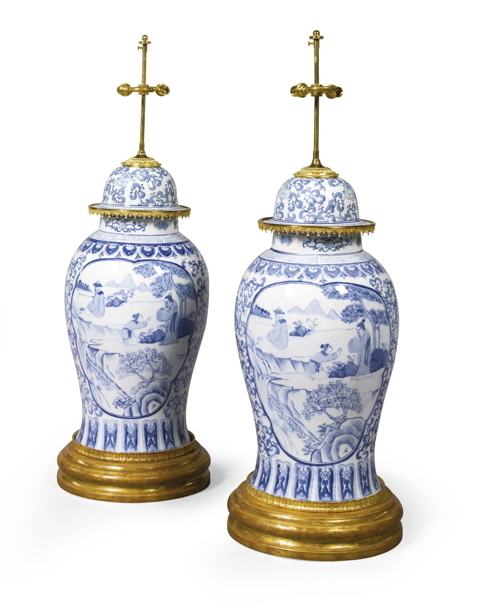 chinese vase lamp of a pair of large chinese blue and white porcelain vases and lids with a pair of large chinese blue and white porcelain vases and lids lot sothebys