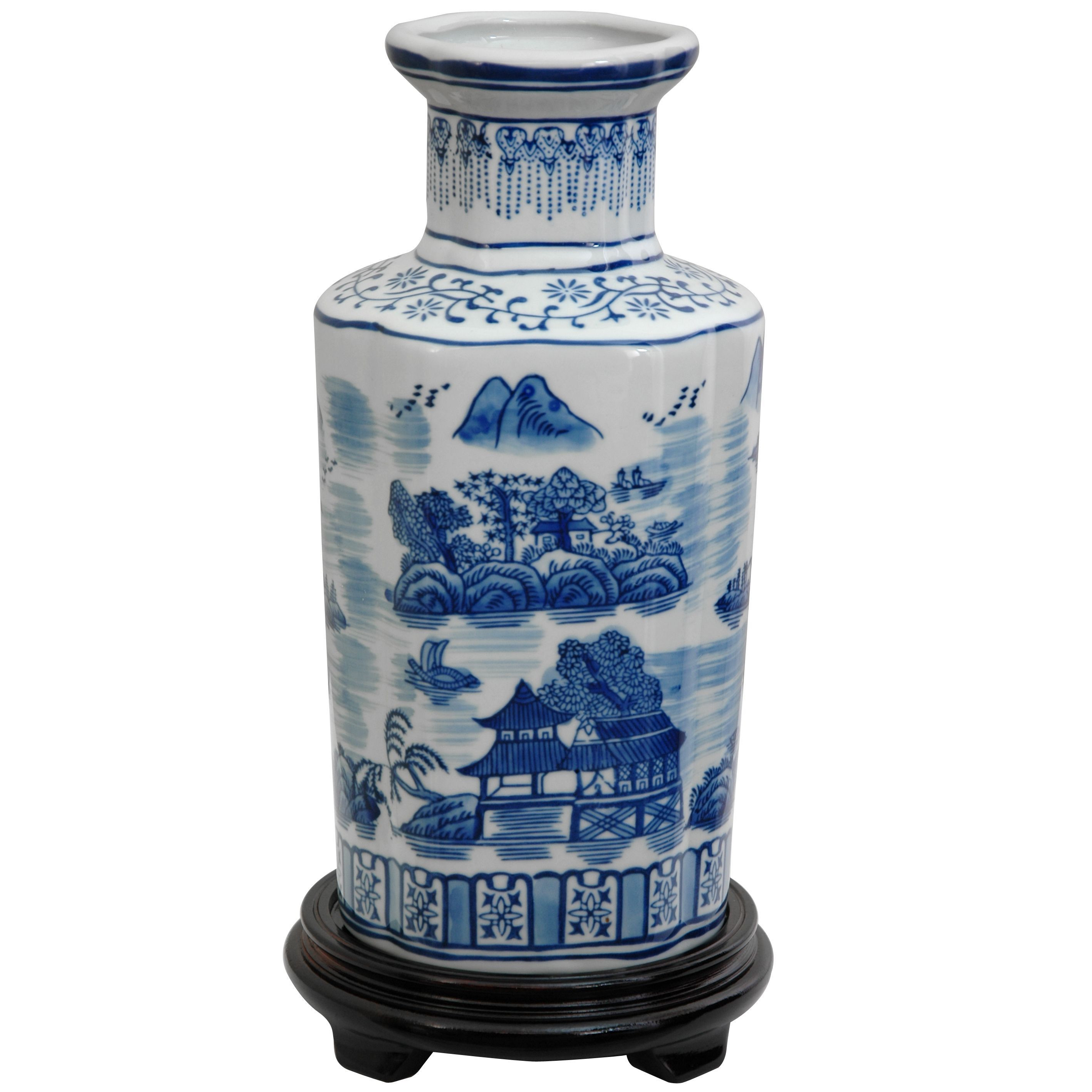 chinese vase with stand of handmade porcelain 12 inch blue and white landscape vase 12 in handmade porcelain 12 inch blue and white landscape vase china