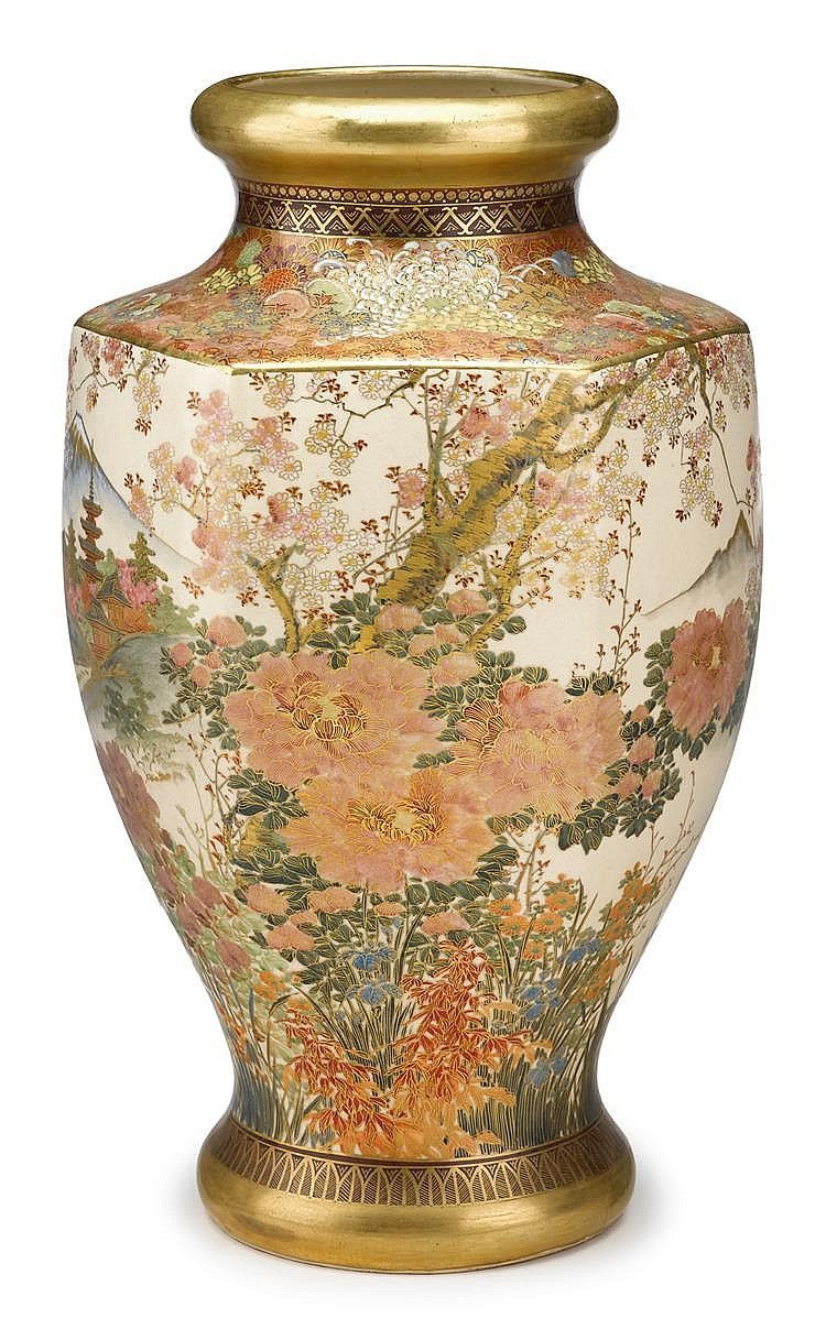 chinese vases for sale uk of fine japanese satsuma earthenware vase probably koshida meiji pertaining to fine japanese satsuma earthenware vase probably koshida meiji period late 19th century h 15 in