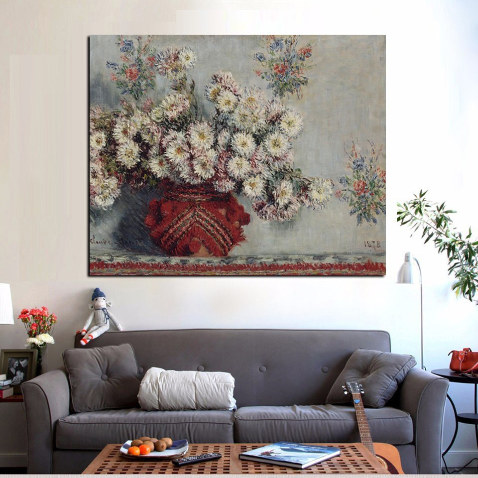 claude monet vase of flowers of hd print still life wild chrysanthemums vase monet floral oil intended for hd print still life wild chrysanthemums vase monet floral oil painting on canvas art sofa wall picture for living room cuadros in painting calligraphy